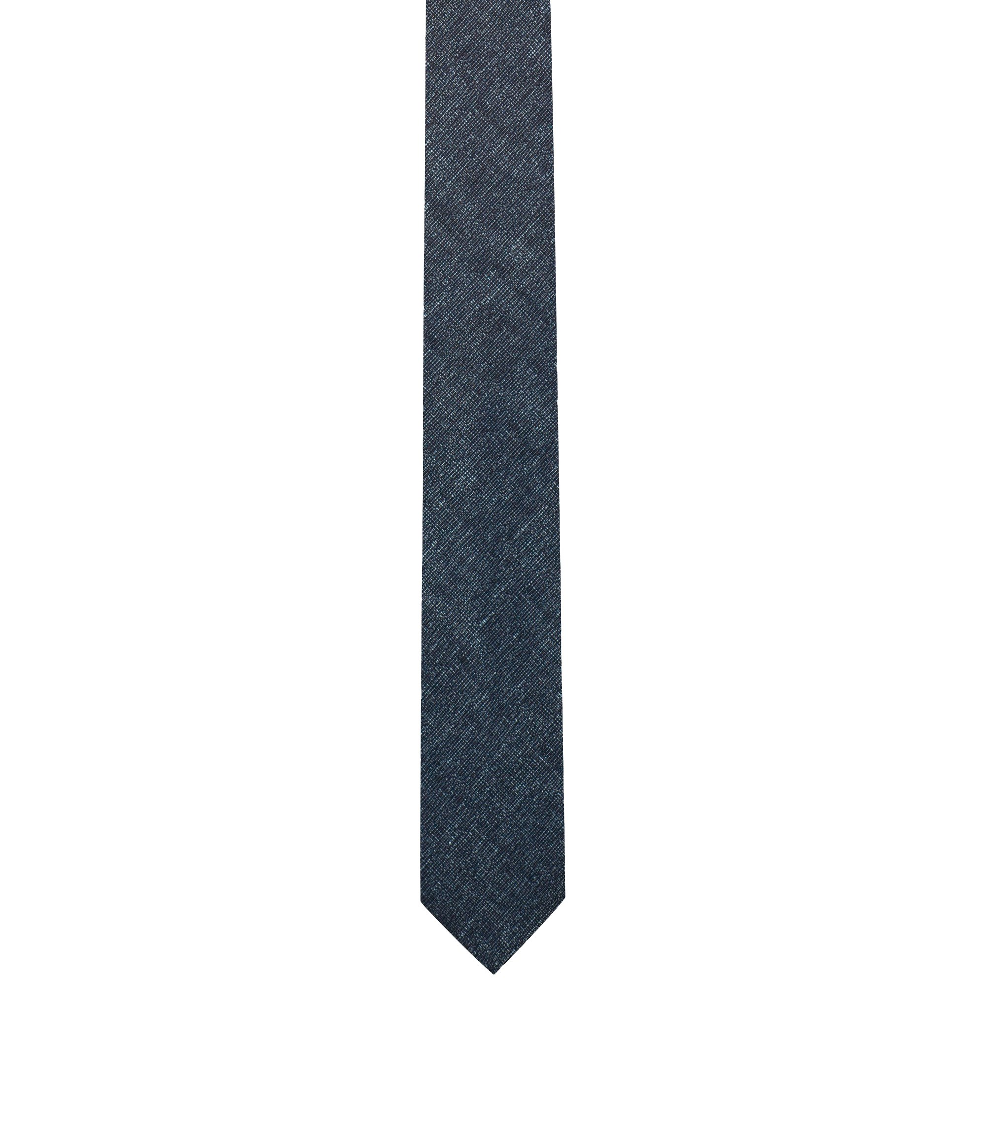 Silk-Linen Slim Tie, Dark Blue
