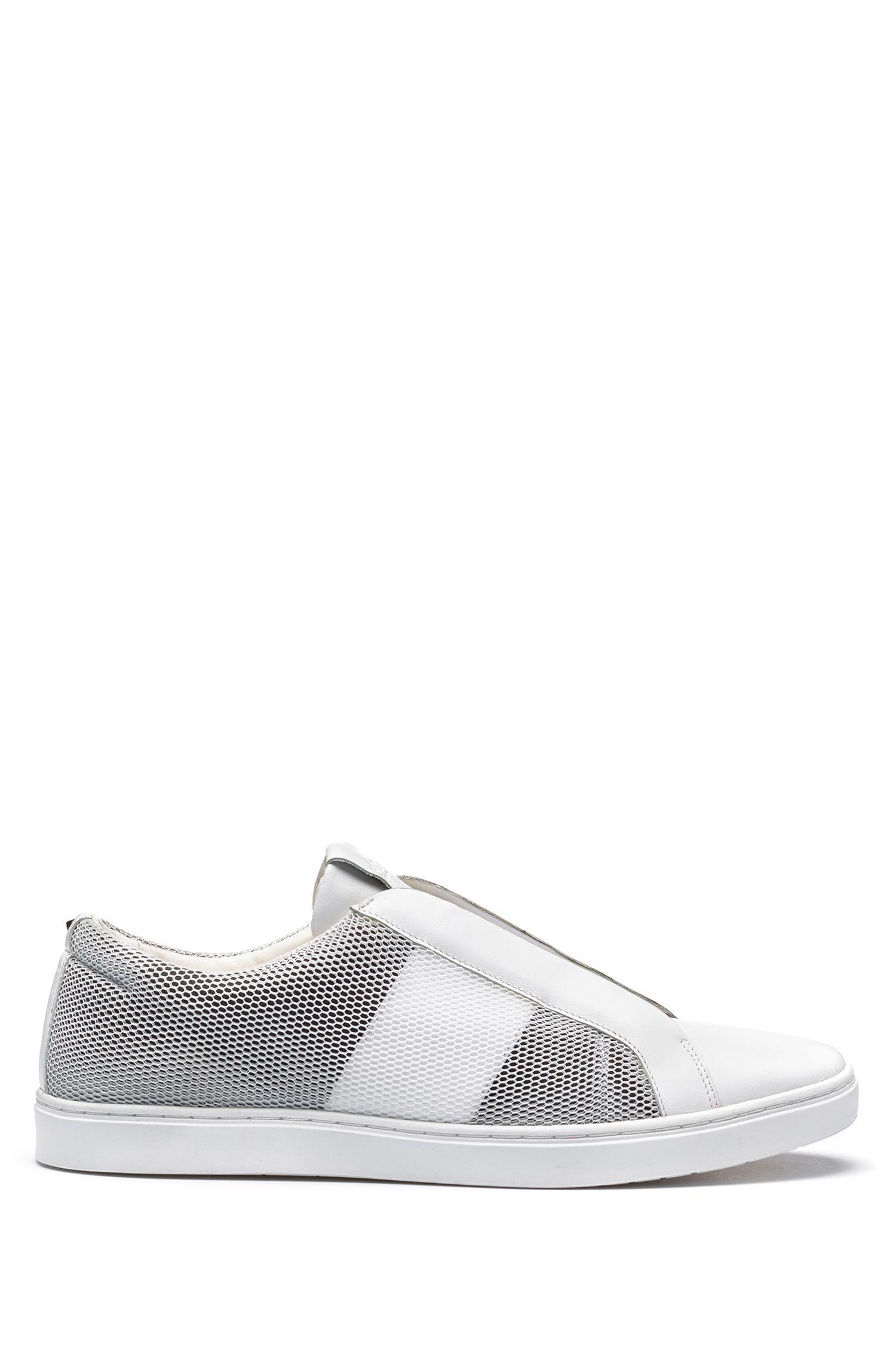 Leather & Mesh Sneaker | Post Slon, White
