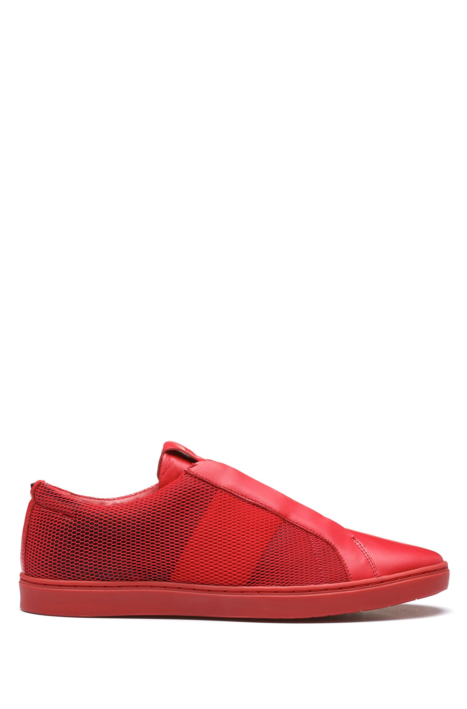 Leather & Mesh Sneaker | Post Slon, Red