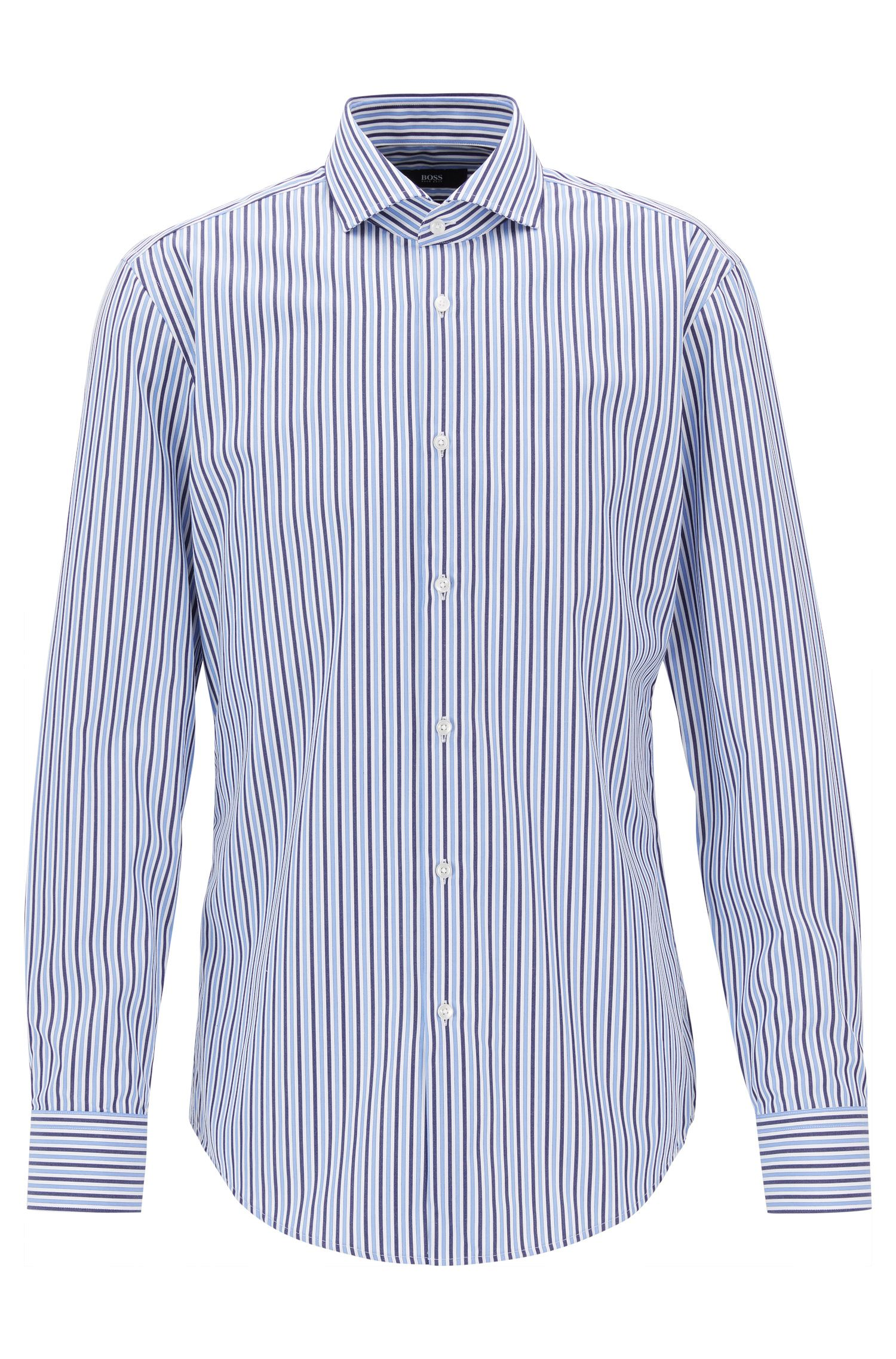 Striped Cotton Dress Shirt, Slim Fit | Jason, Blue