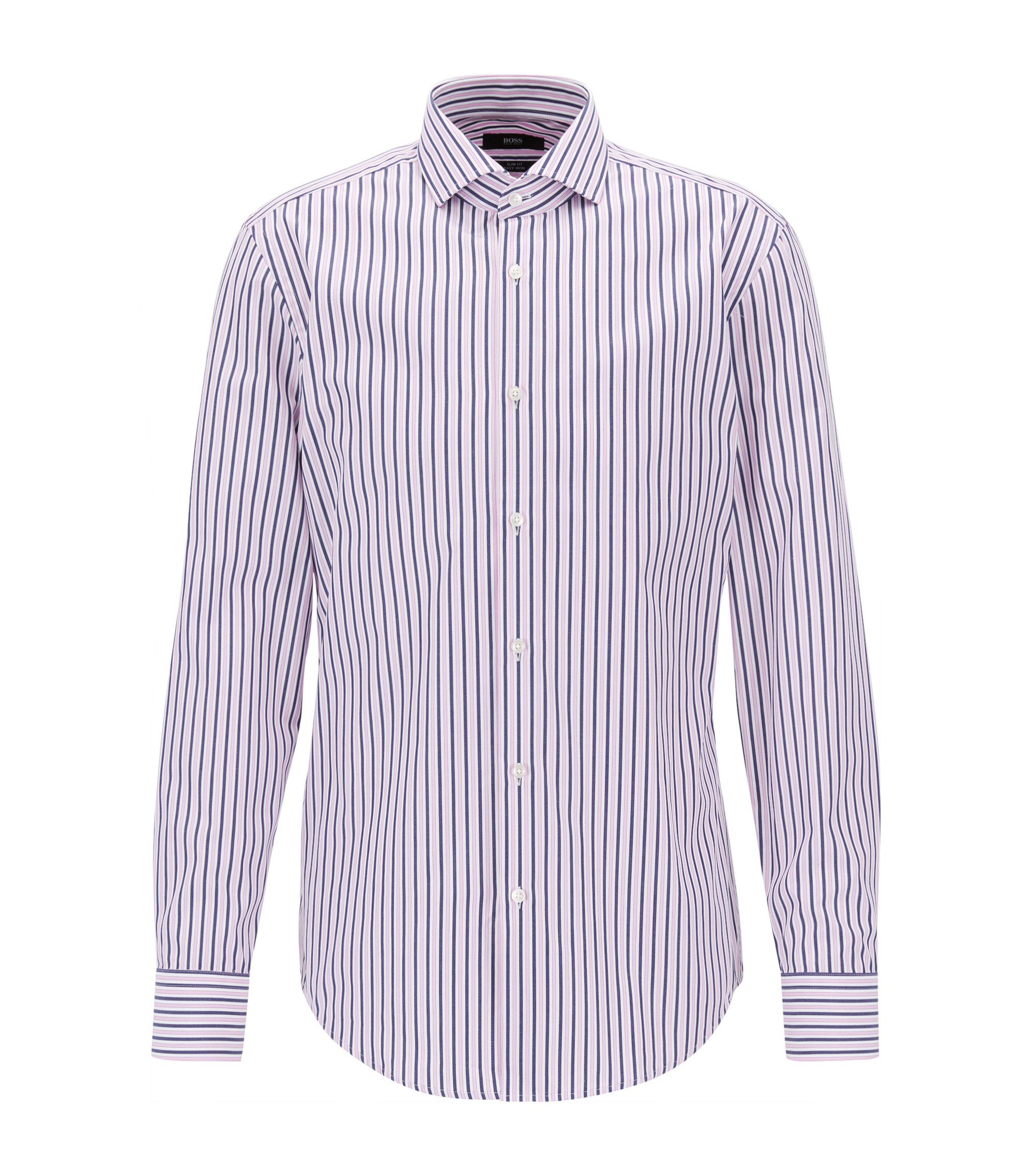 Striped Cotton Dress Shirt, Slim Fit | Jason, light pink