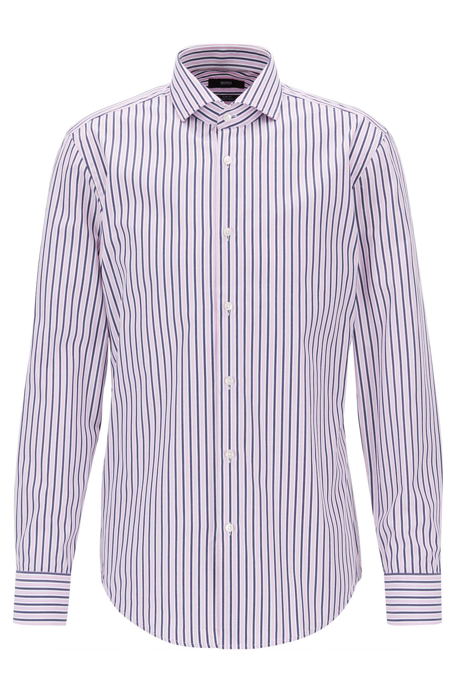 Striped Cotton Dress Shirt, Slim Fit | Jason, light pink