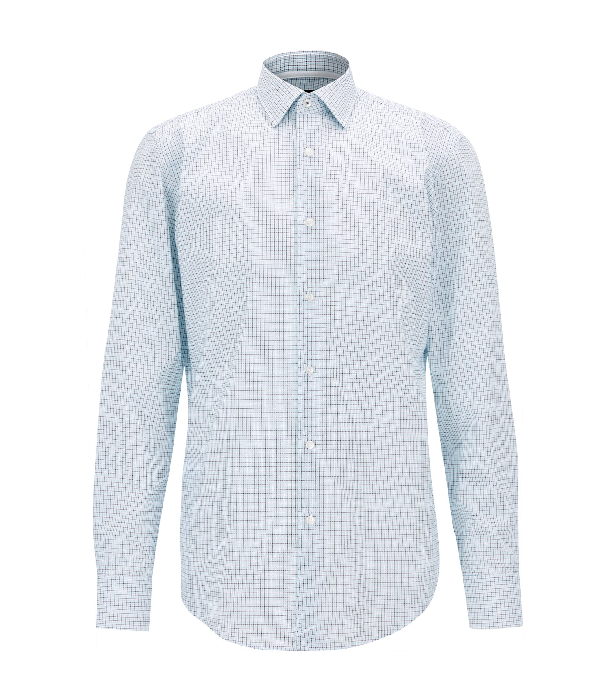 Plaid Cotton Dress Shirt, Slim Fit | Jesse, Turquoise