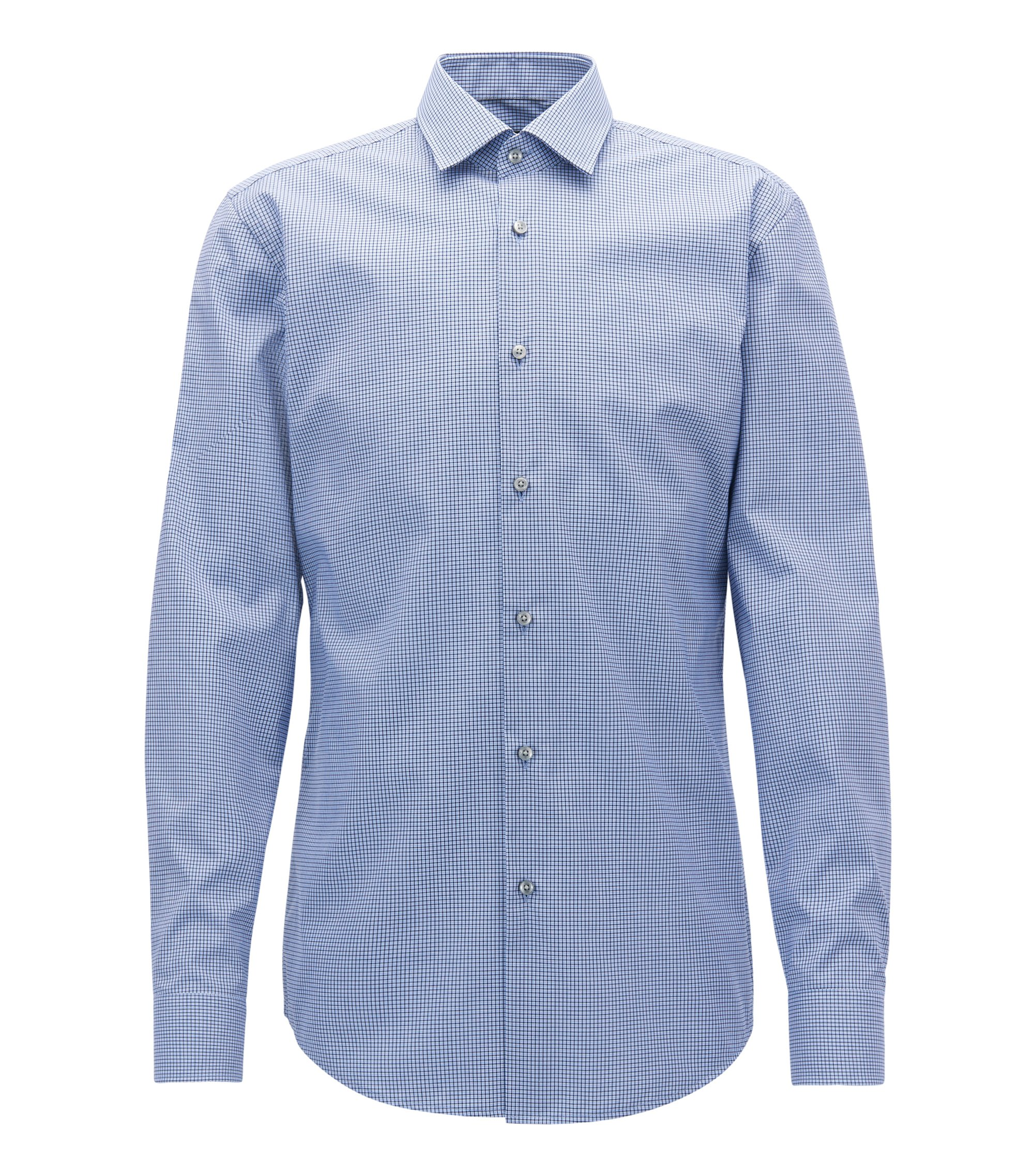 Checked Cotton Dress Shirt, Slim Fit | Jenno, Blue