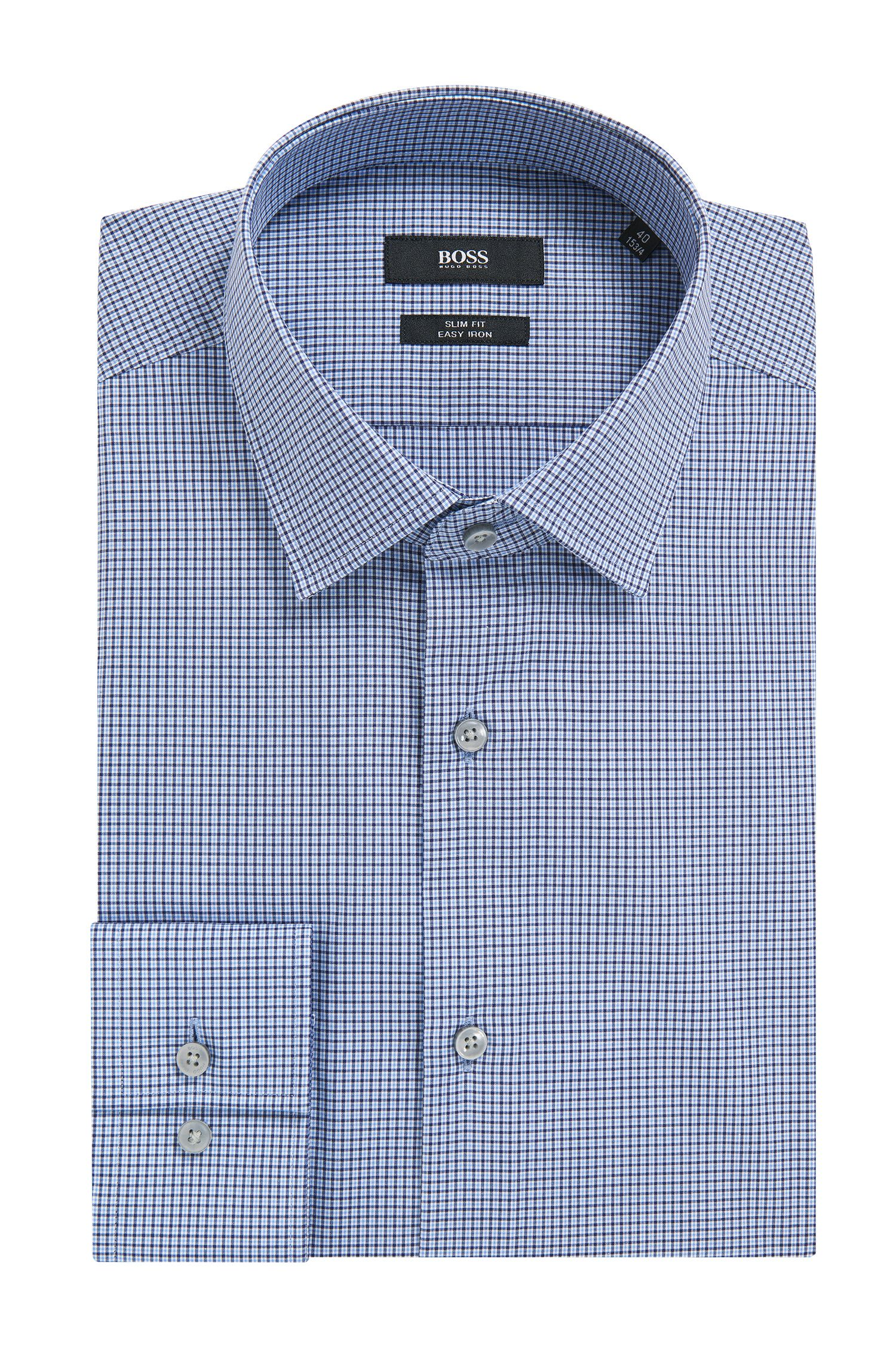 Checked Cotton Dress Shirt, Slim Fit | Jenno