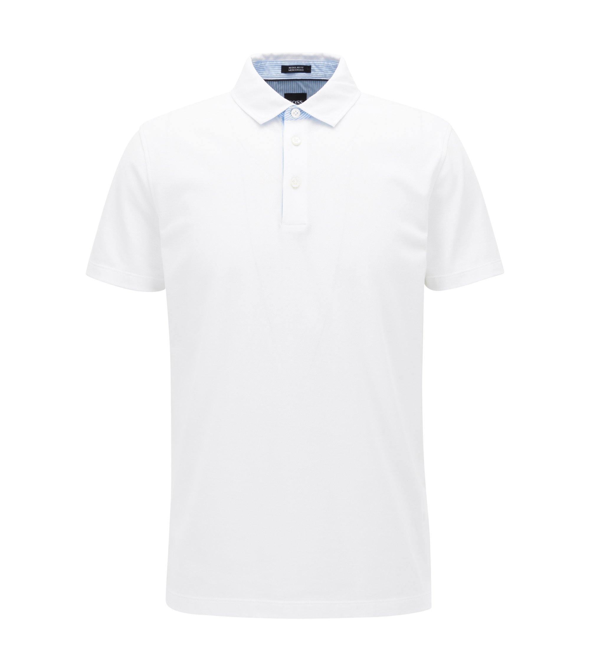 Mercerized Cotton Polo Shirt, Regular Fit | Press, White