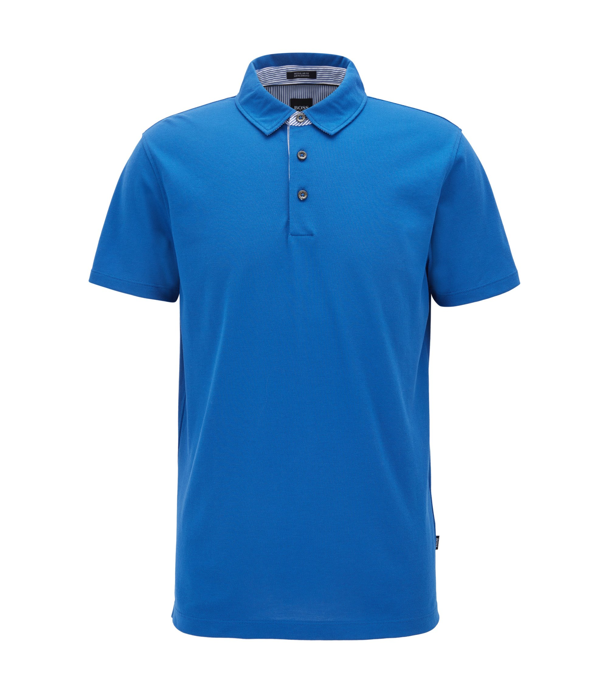 Mercerized Cotton Polo Shirt, Regular Fit | Press, Blue