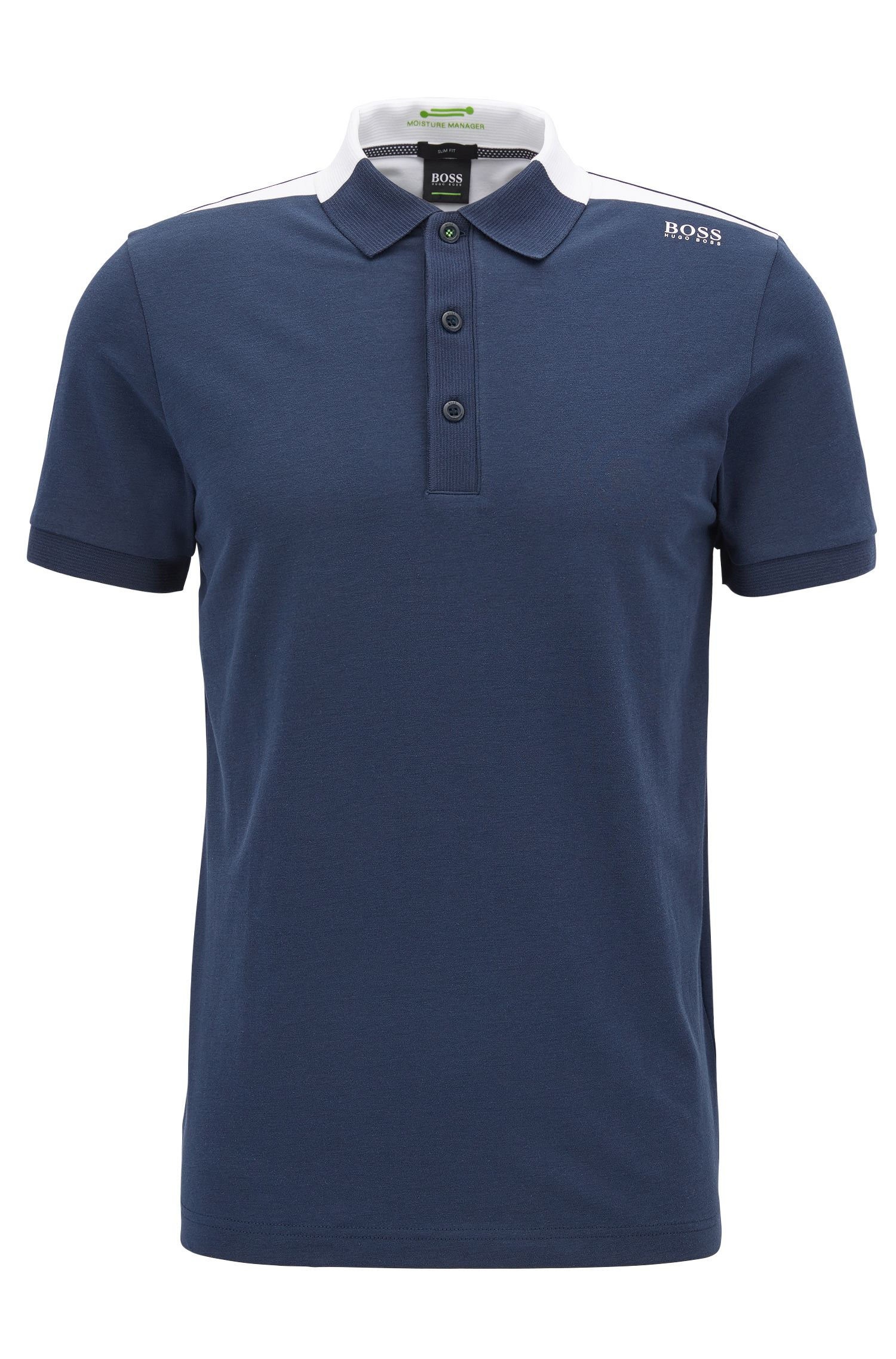Moisture Manager Cotton Blend Polo Shirt, Slim Fit | Paule , Dark Blue