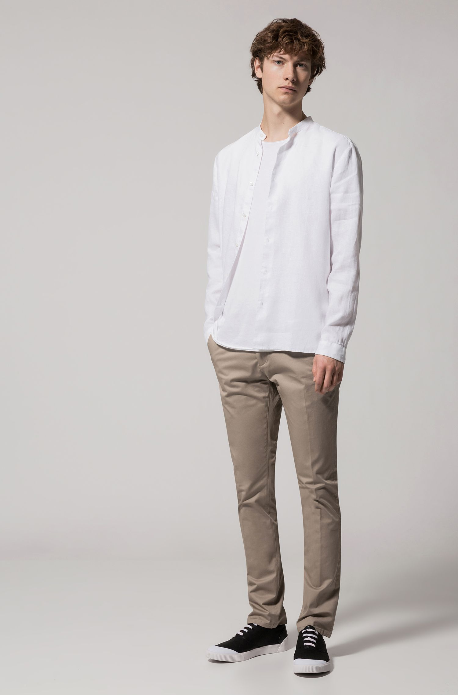 Linen Sport Shirt, Regular Fit | Eddison W, Open White