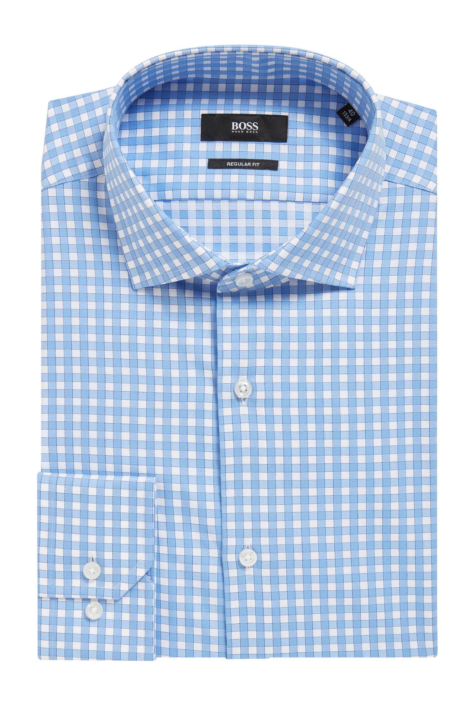 Checked Cotton Dress Shirt, Regular Fit | Gordon, Light Blue