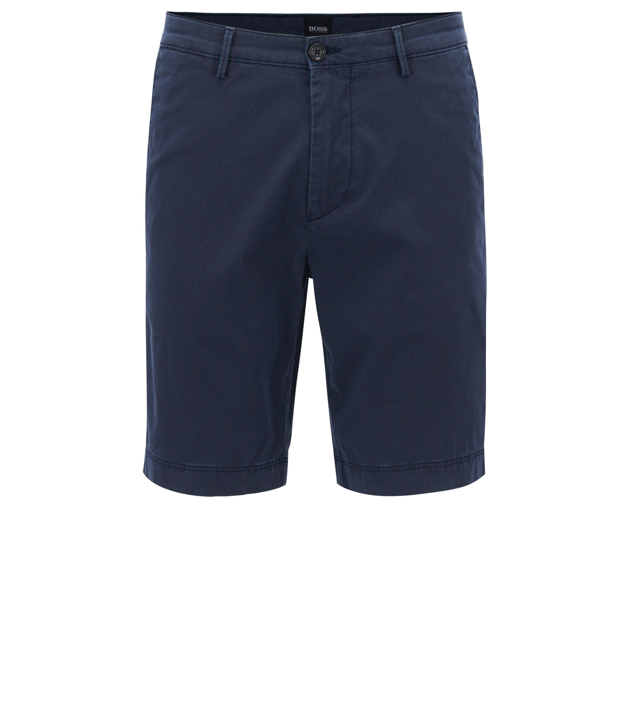 Pindot Stretch Cotton Short, Regular Fit | Crigan Short W, Dark Blue