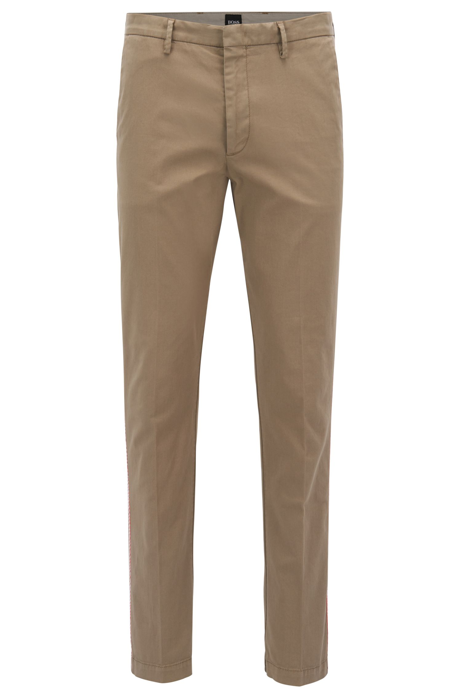 Grosgrain Trim Stretch Gabardine Pant, Tapered Fit | Kaito Rope D, Beige