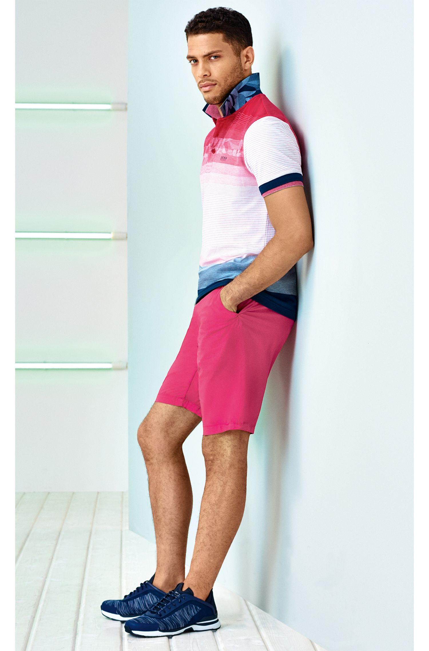 Colorblock Polo Shirt, Slim Fit | Paule, Pink