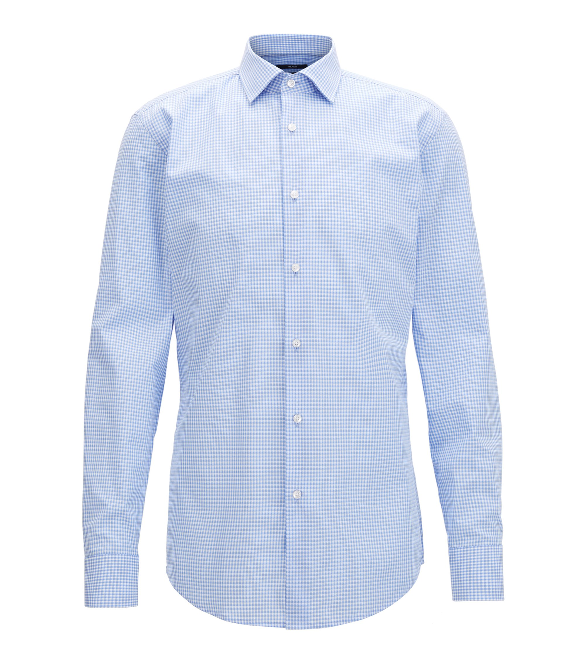 Gingham Cotton Dress Shirt, Slim Fit | Jenno, Light Blue