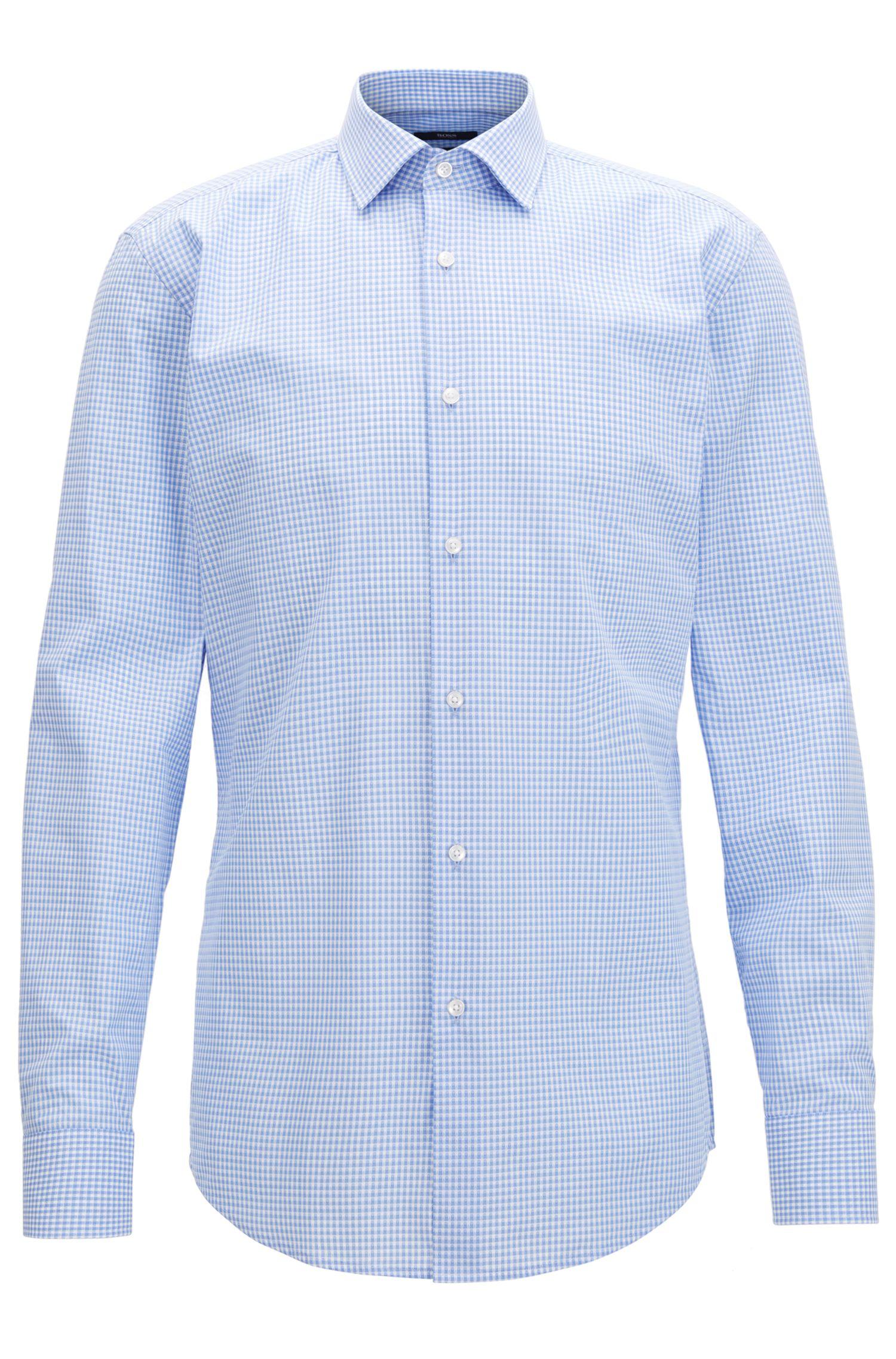 Gingham Cotton Dress Shirt, Slim Fit | Jenno, Light Blue