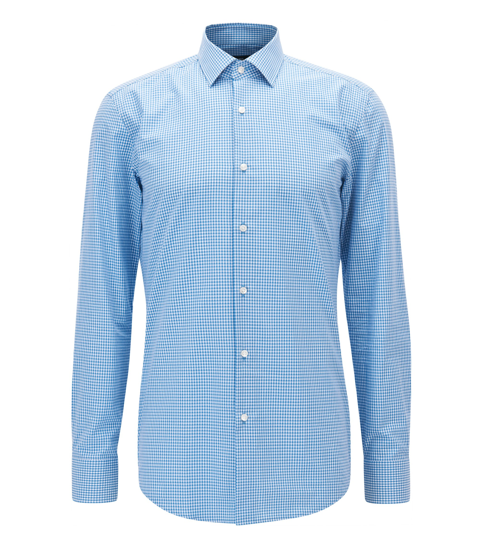 Gingham Cotton Dress Shirt, Slim Fit | Jenno, Open Blue