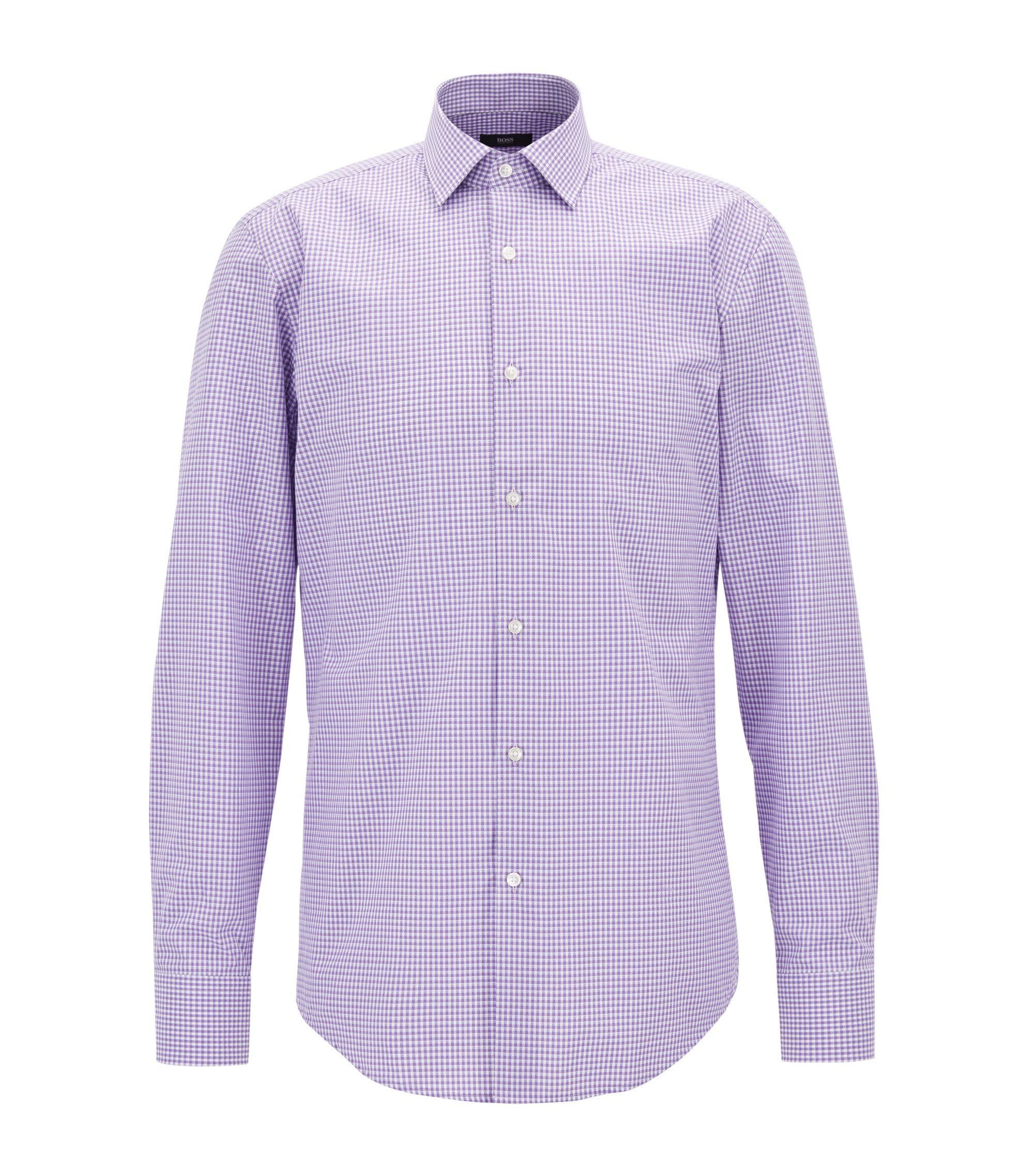 Gingham Cotton Dress Shirt, Slim Fit | Jenno, Purple