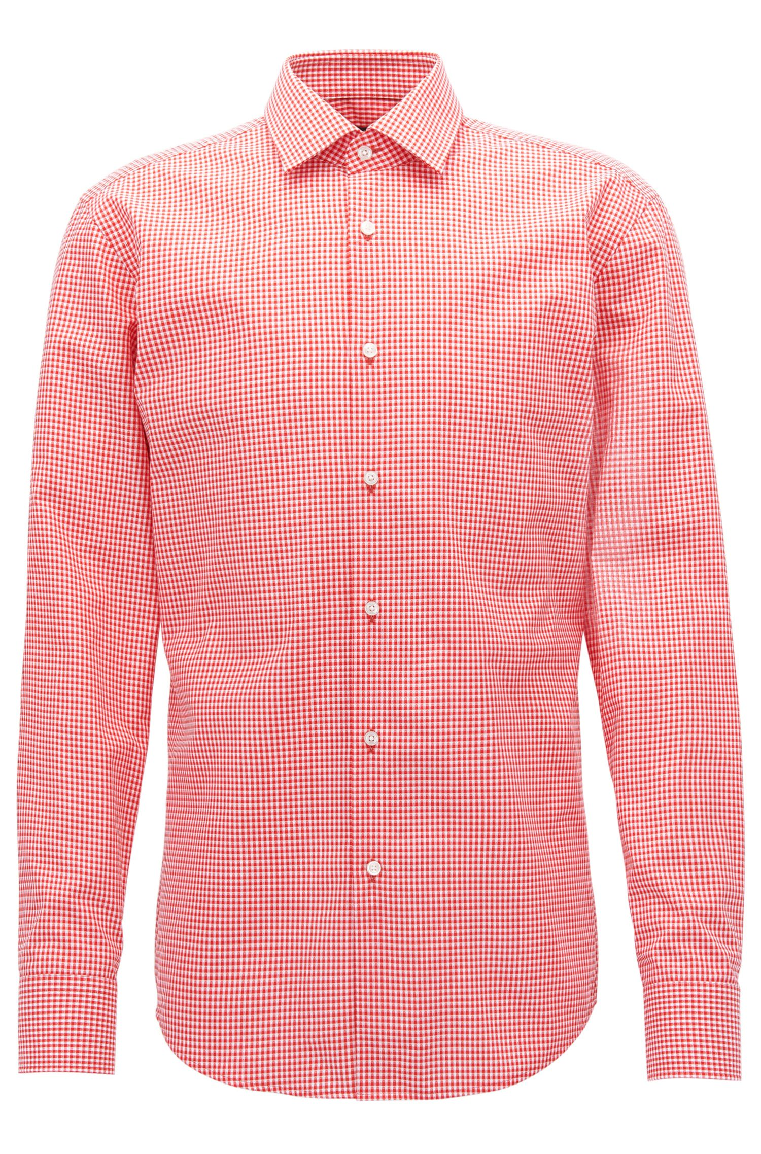 Gingham Cotton Dress Shirt, Slim Fit | Jenno, Open Orange