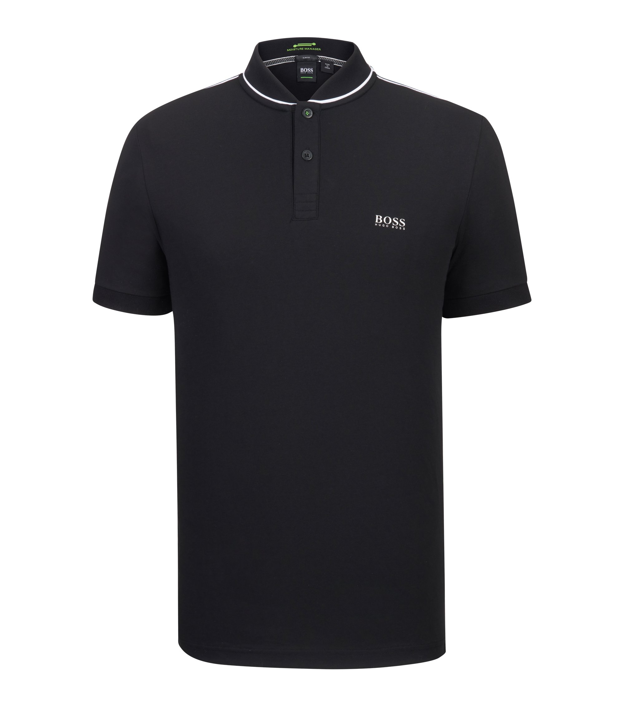 Stretch Cotton Polo Shirt, Slim Fit | Pariq, Black