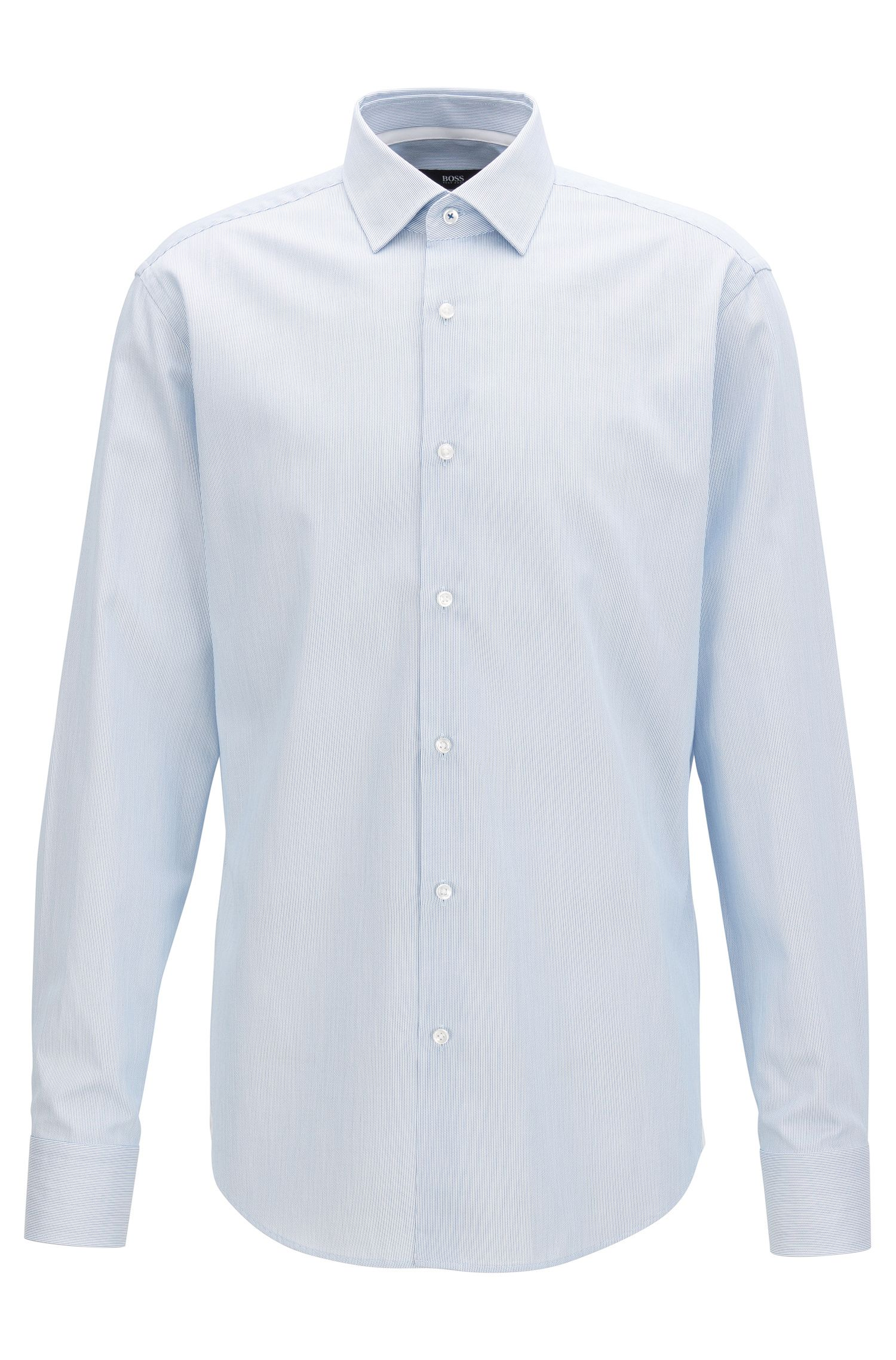 Striped Cotton Dress Shirt, Regular Fit | Gelson, Open Blue