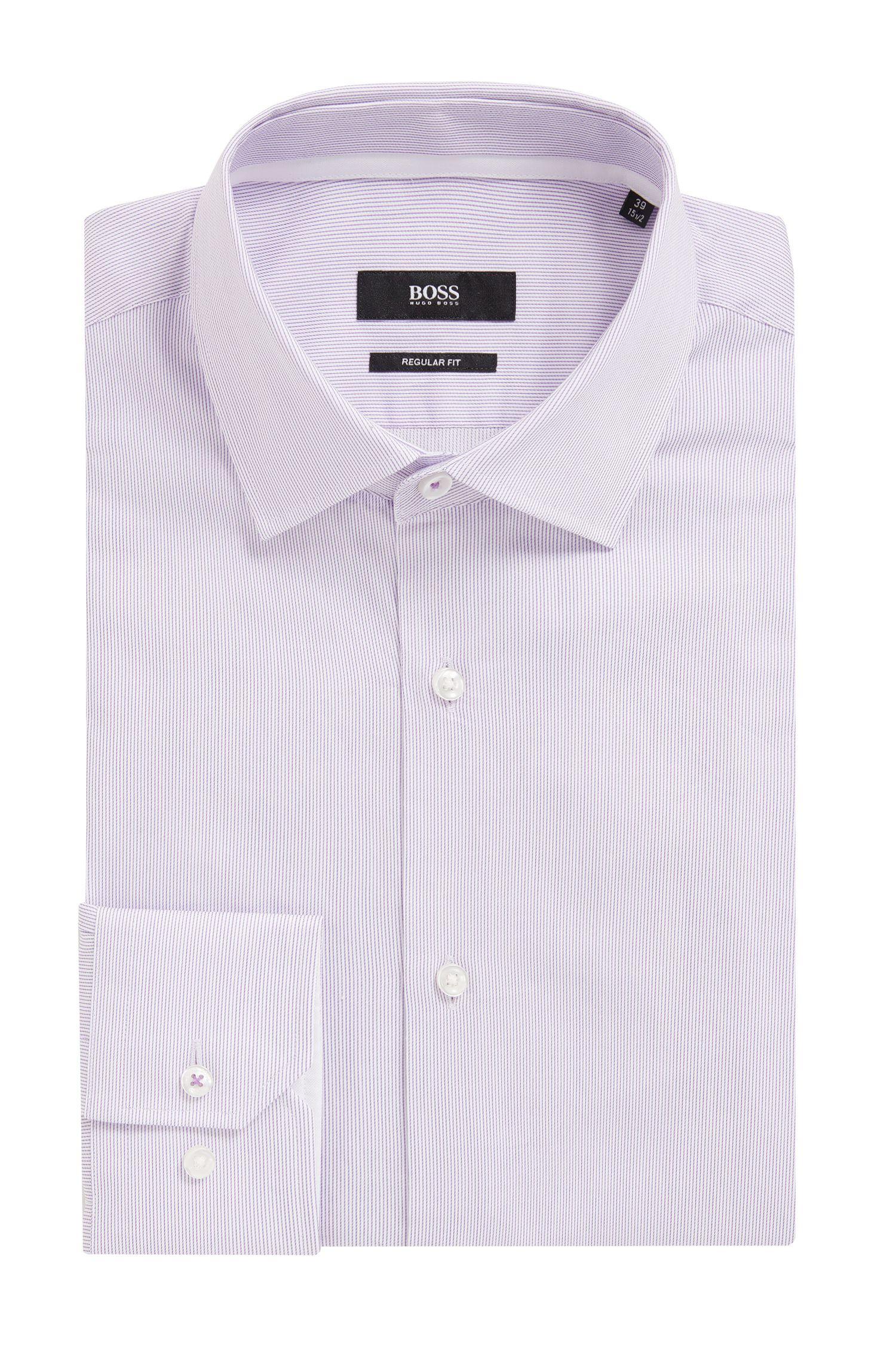 Striped Cotton Dress Shirt, Regular Fit | Gelson, Purple