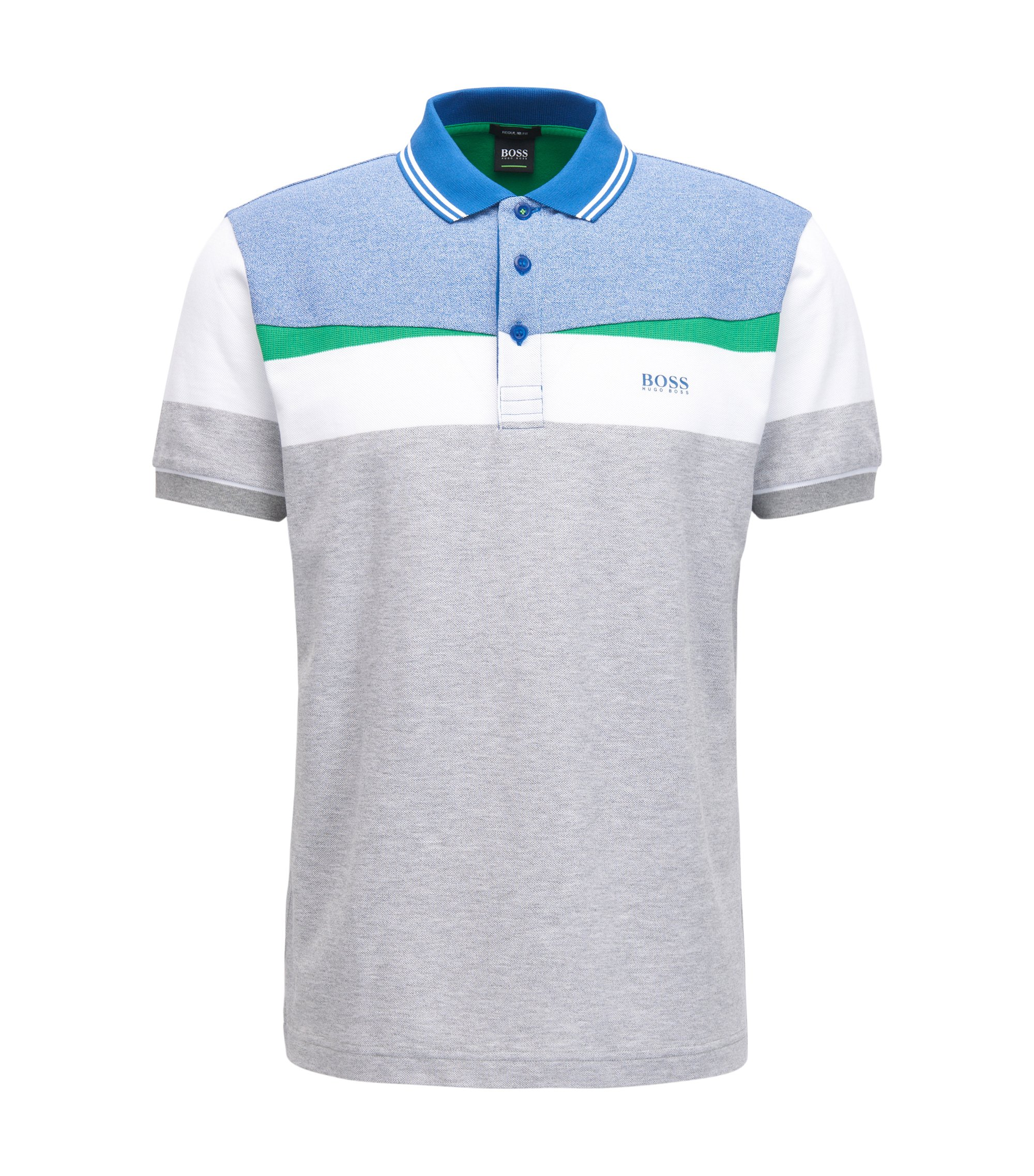 Colorblocked Piqué Cotton Polo Shirt, Regular Fit | Paddy, Light Grey