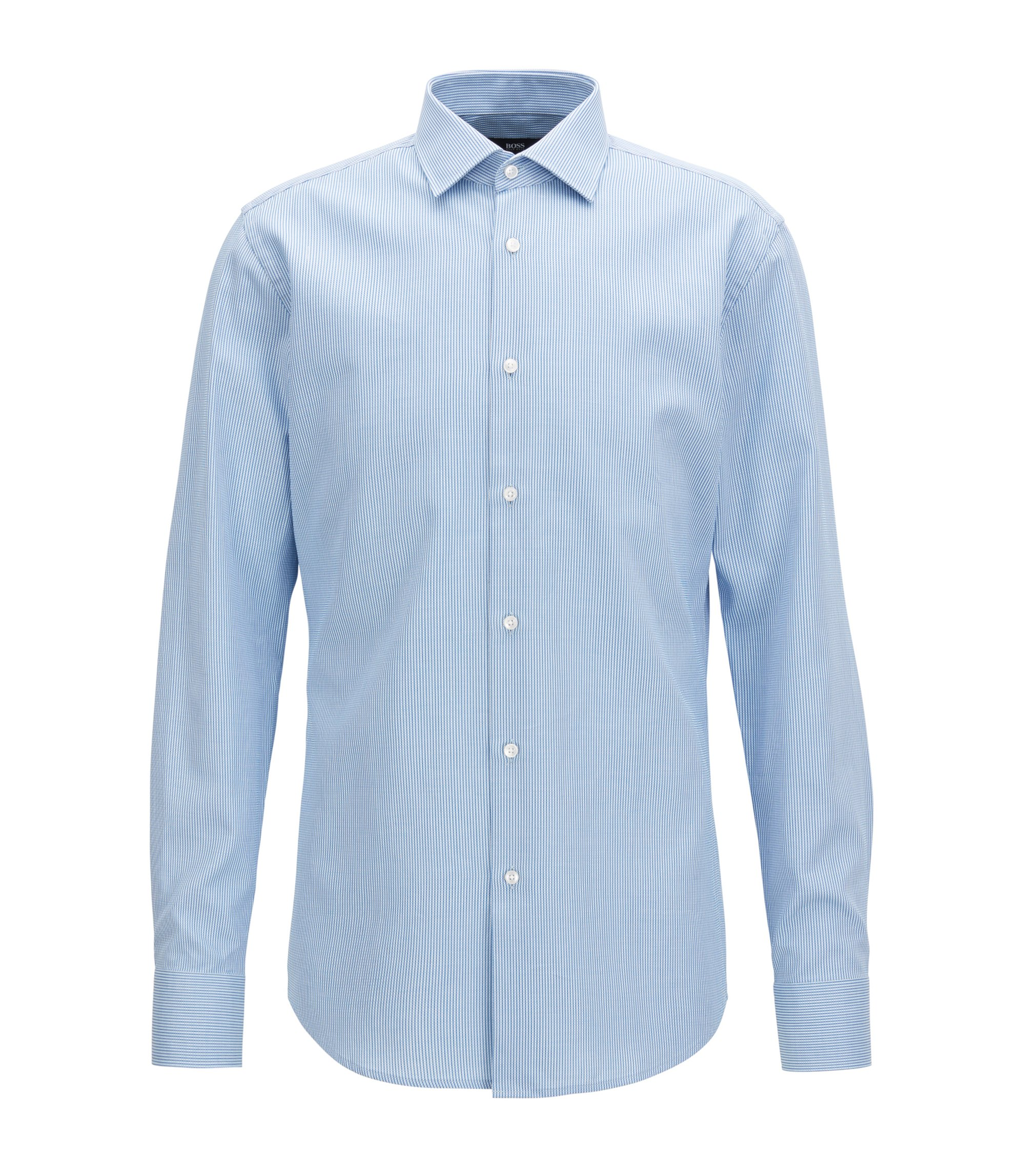 Striped Cotton Dress Shirt, Slim Fit | Jenno, Open Blue
