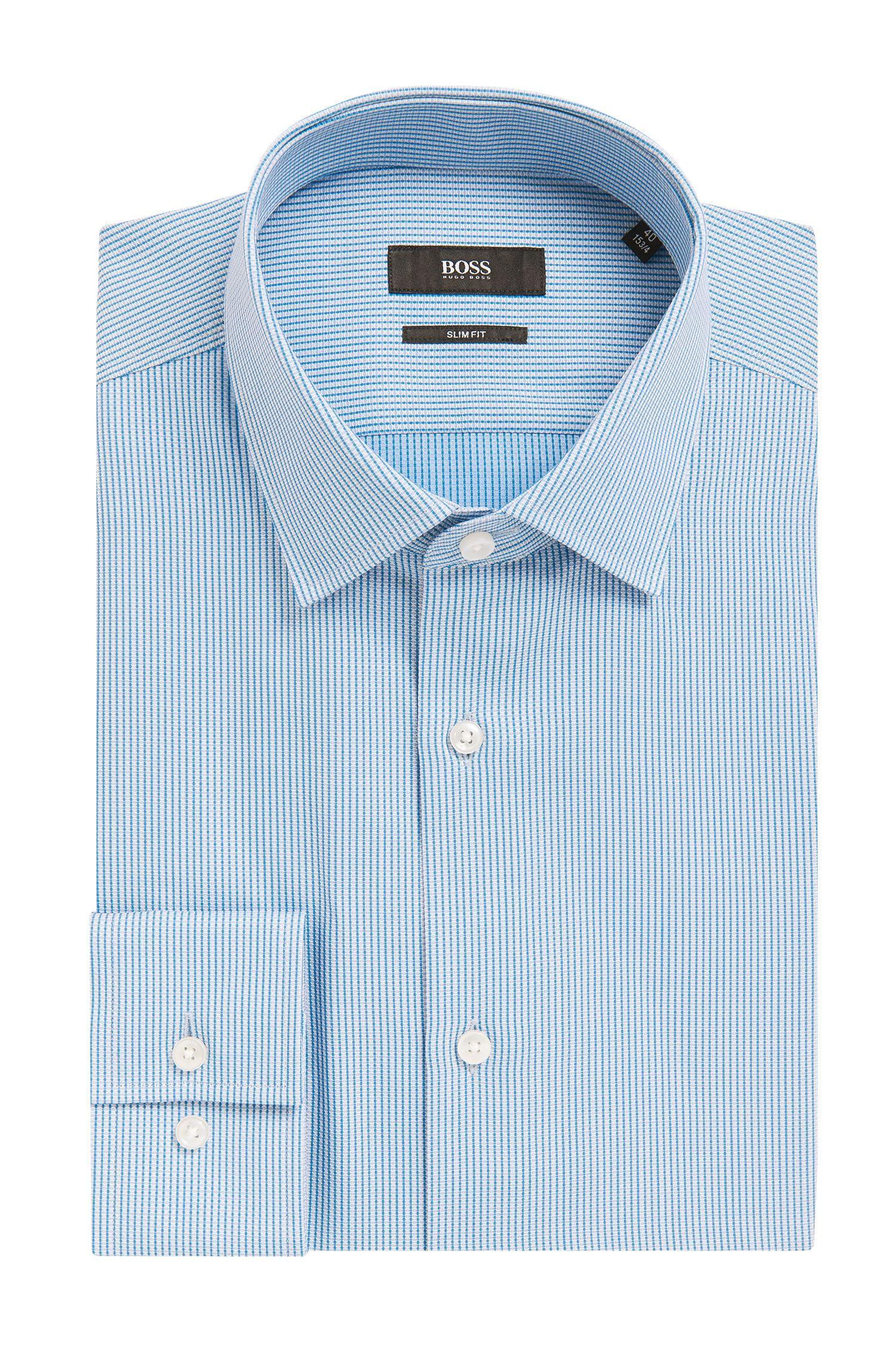 Striped Cotton Dress Shirt, Slim Fit | Jenno, Open Blue