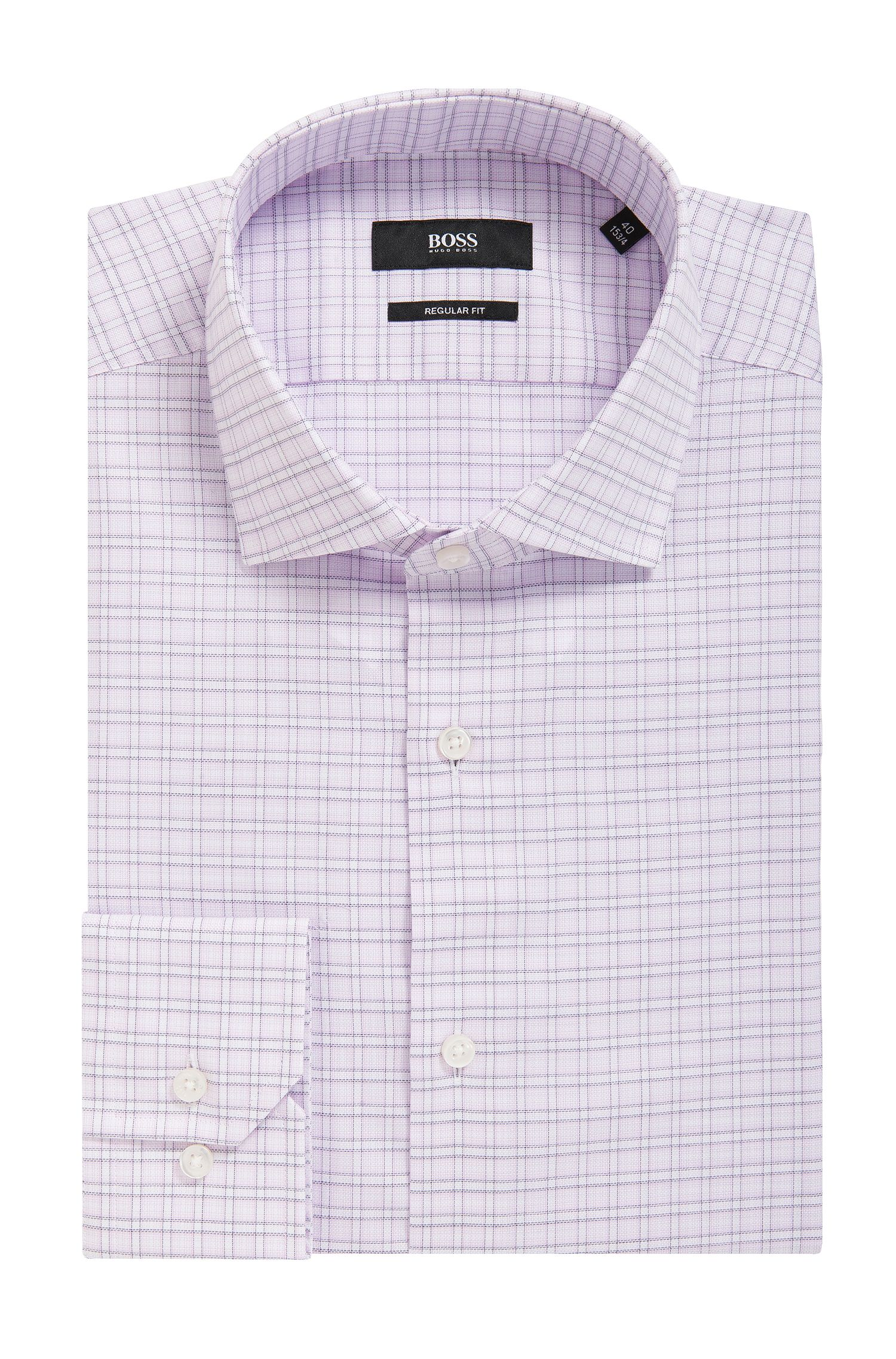 Check Cotton Dress Shirt, Regular Fit | Gordon, light pink