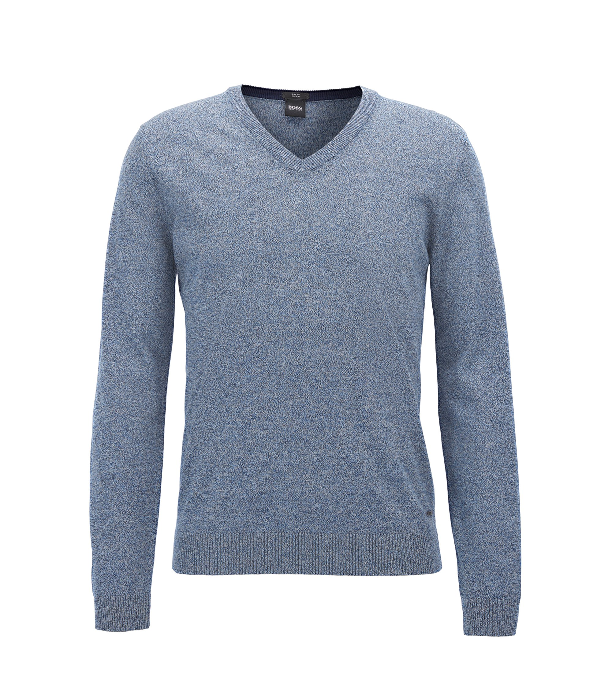 Cotton V-Neck Sweater | Fabbert D, Turquoise