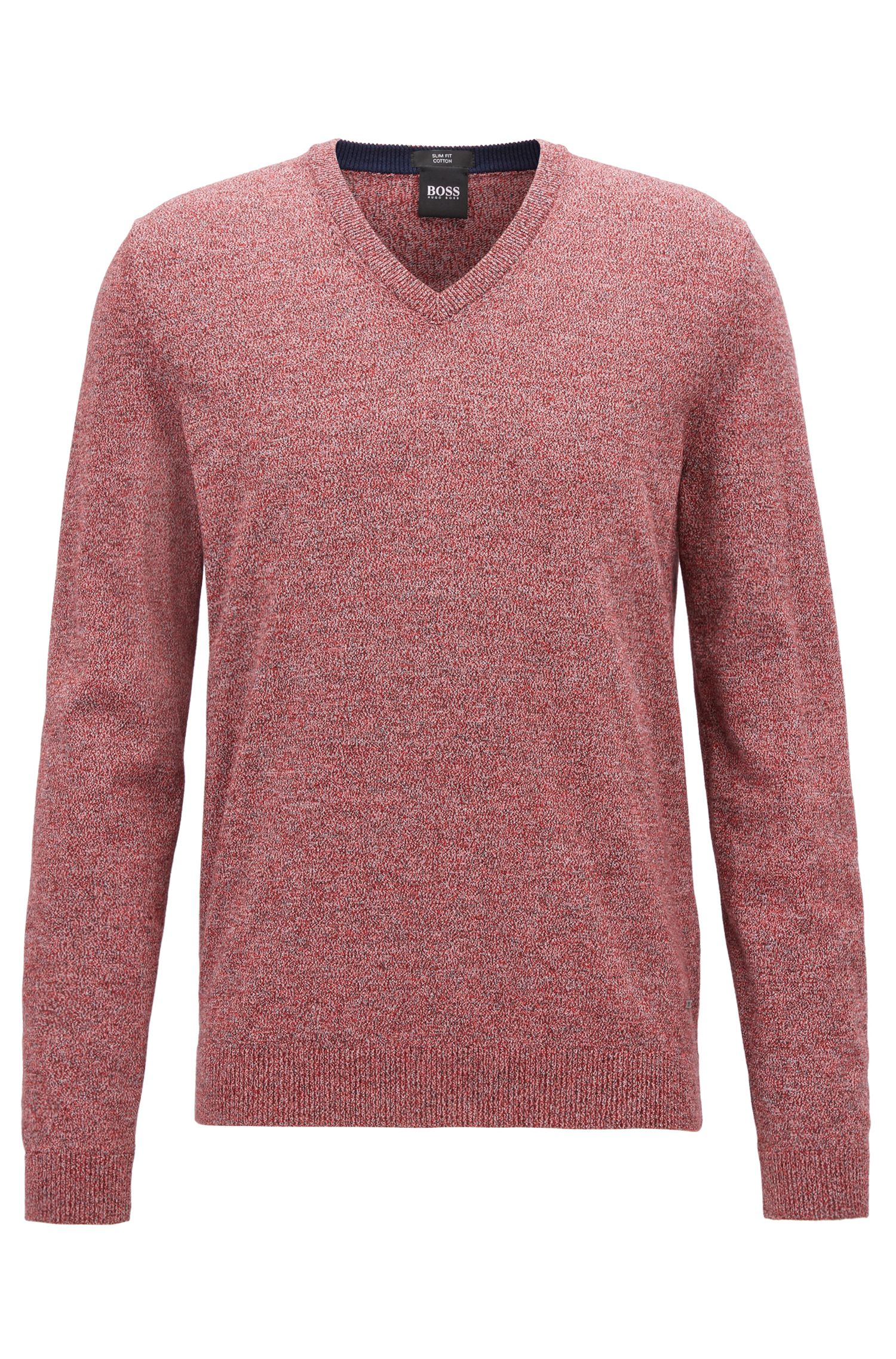 Cotton V-Neck Sweater | Fabbert D, Dark Orange
