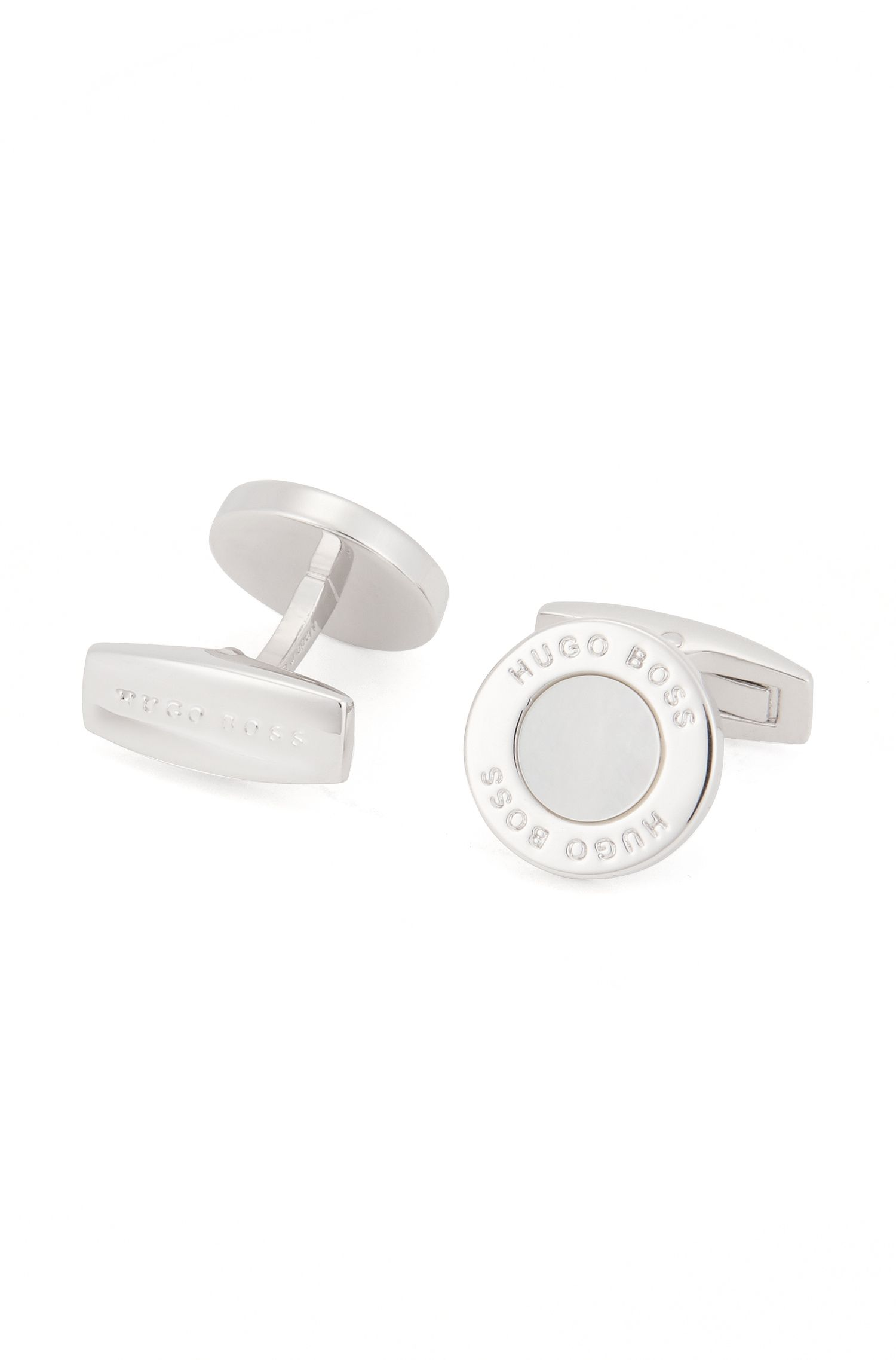 BOSS Hugo Boss Mother-Of-Pearl & Brass Cuffllinks T-Round One Size White