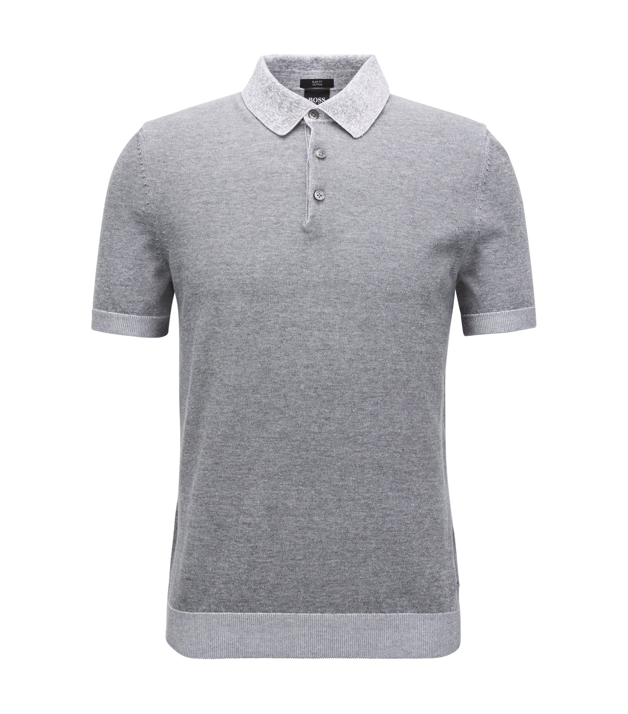 Colorblocked Cotton Polo Shirt, Slim Fit | Delio, Grey