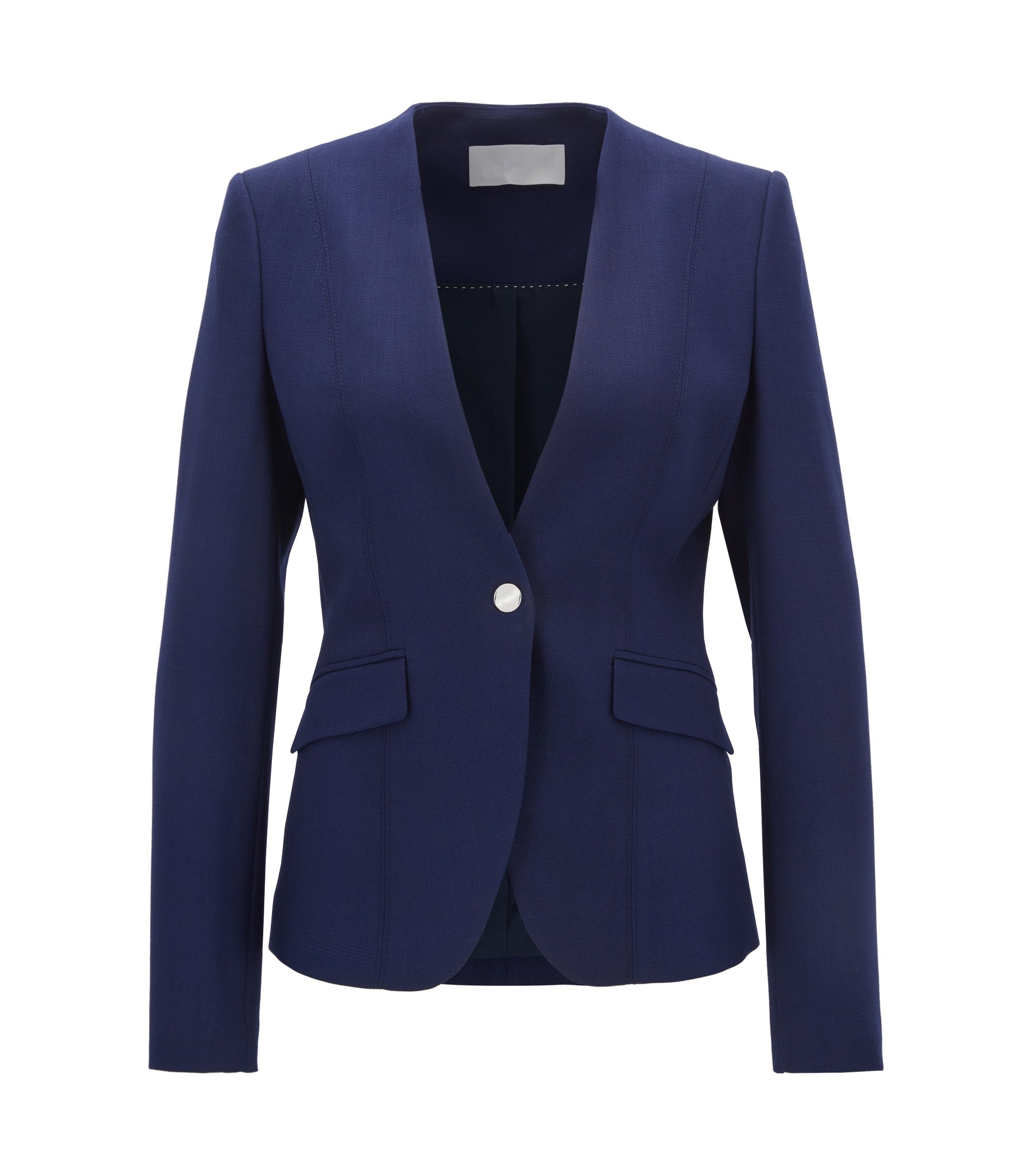 Stretch Virgin Wool Blazer | Jafalea, Blue