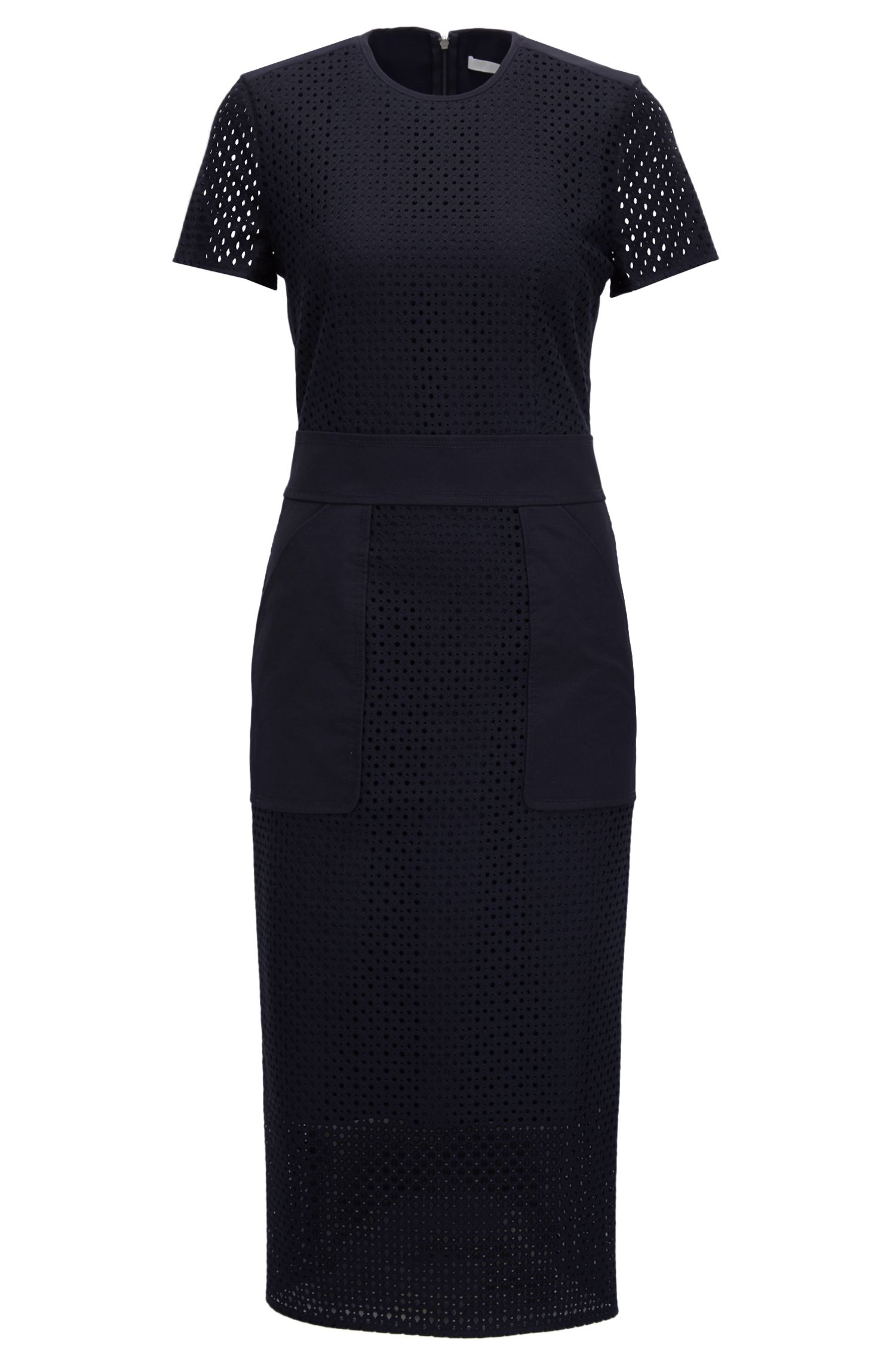 Embroidered Lace Midi-Length Dress | 'Damyla', Open Blue