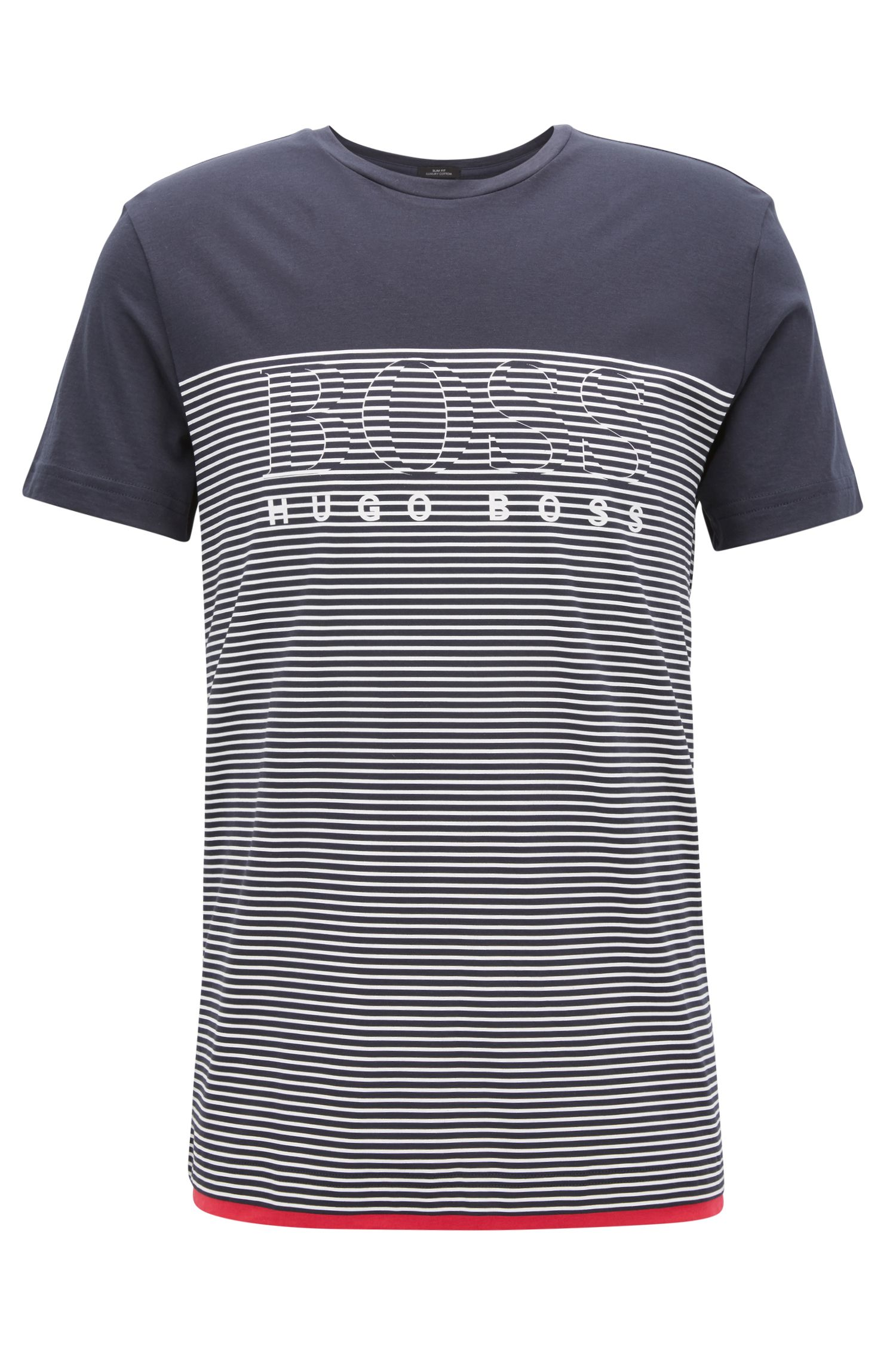 Striped Cotton T-Shirt | Teep, Dark Blue
