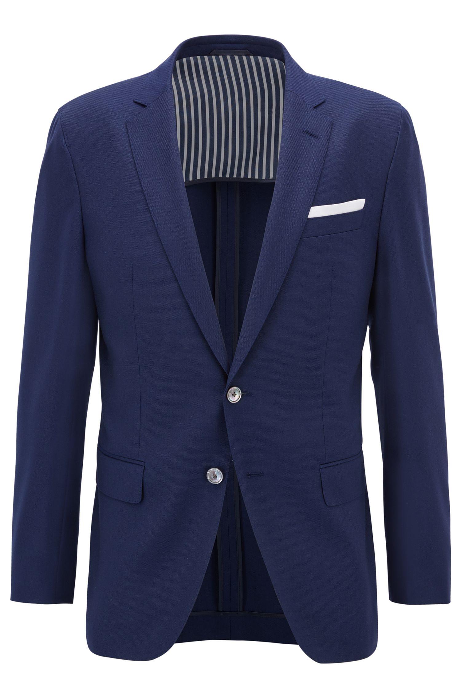 Virgin Wool Sport Coat, Slim Fit | Hartlay, Open Blue