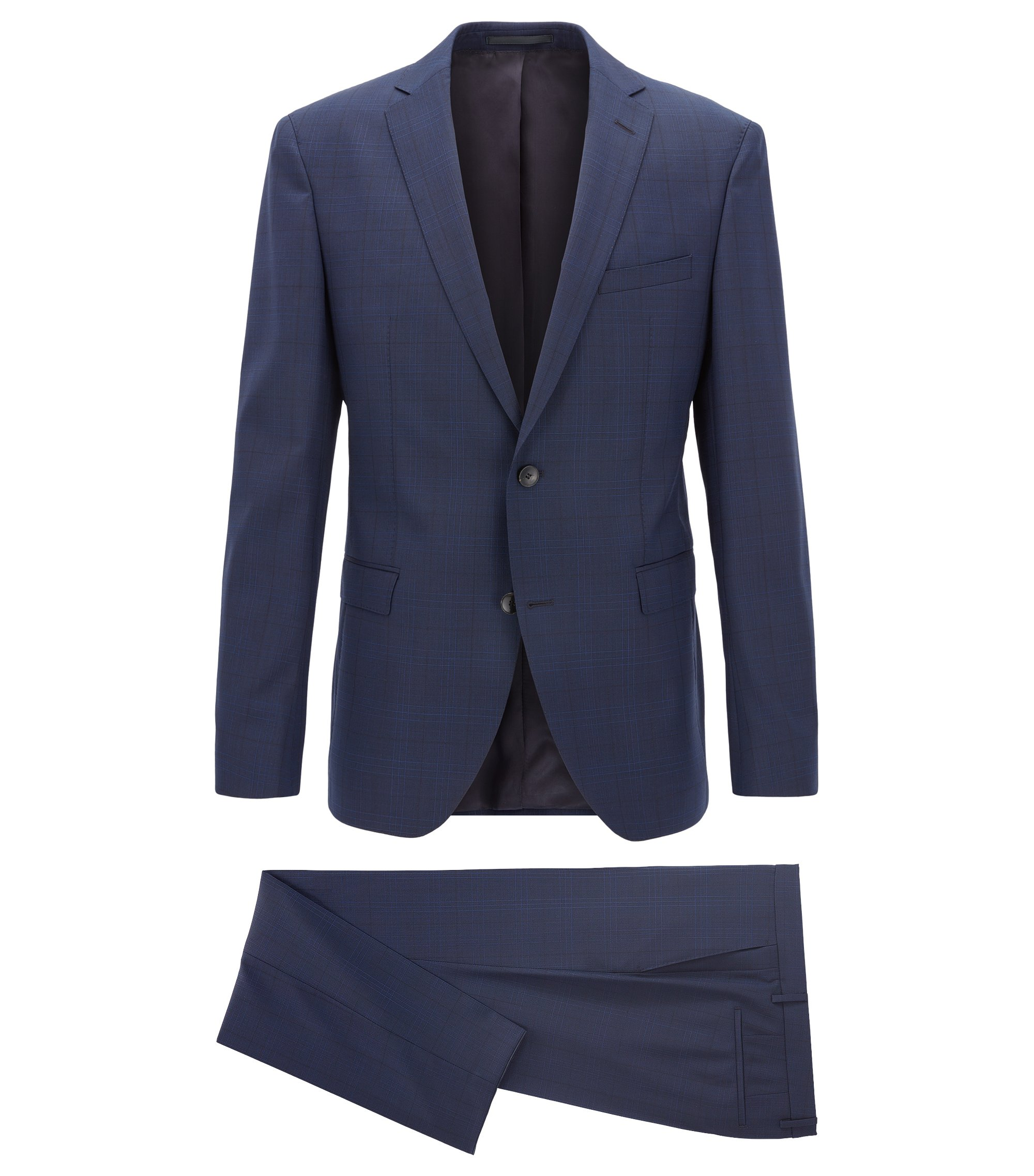 Virgin Wool Suit, Extra Slim Fit | Reyno/Wave, Dark Blue