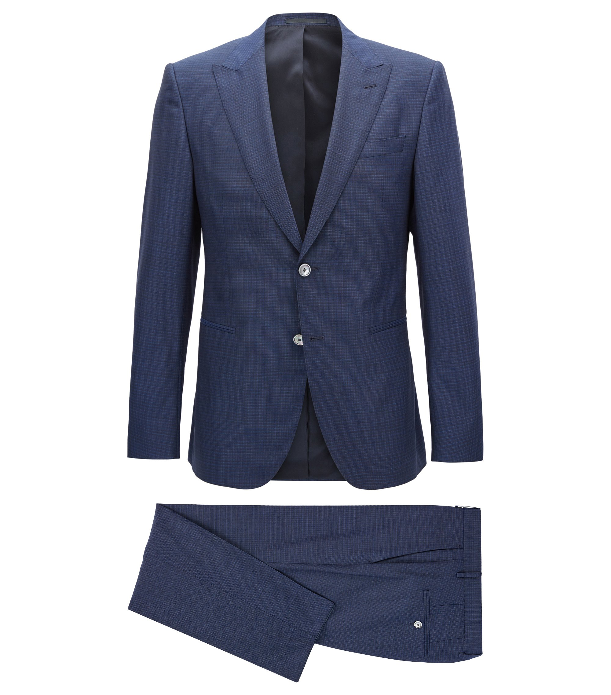 Checked Virgin Wool Suit, Slim Fit | Novid/Bristow, Open Blue