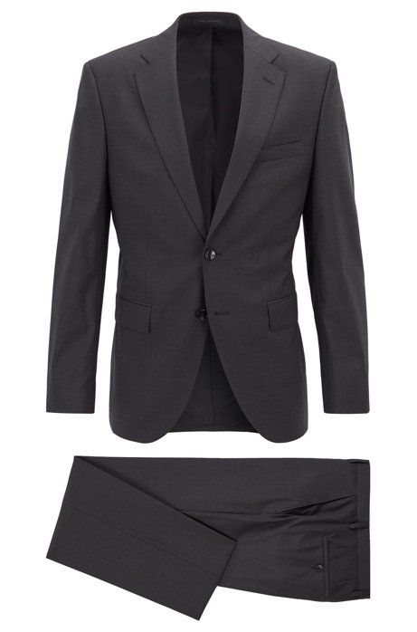 Regular-fit suit in virgin wool with natural stretch, Dark Grey