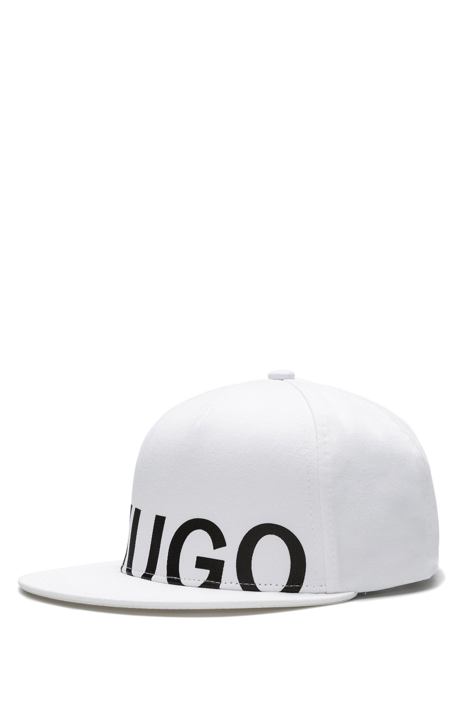 Logo baseball cap in cotton gabardine, White