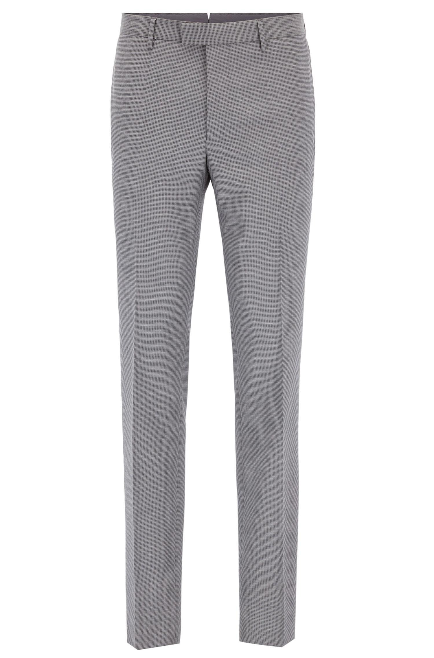 Virgin Wool Dress Pants, Slim Fit | T-Gary, Grey