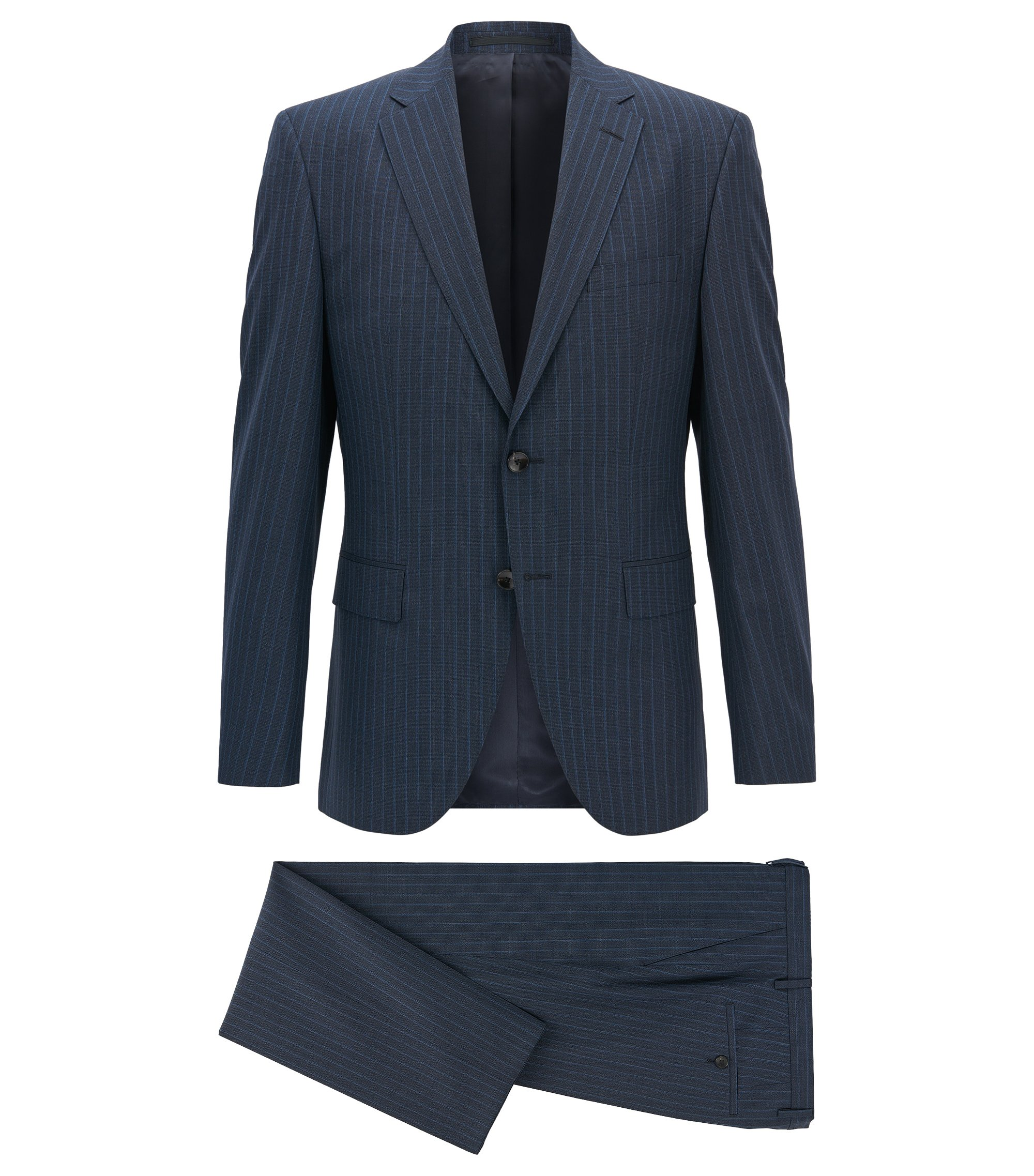 Pinstriped Virgin Wool Suit, Regular Fit | Johnstons/Lenon, Dark Blue