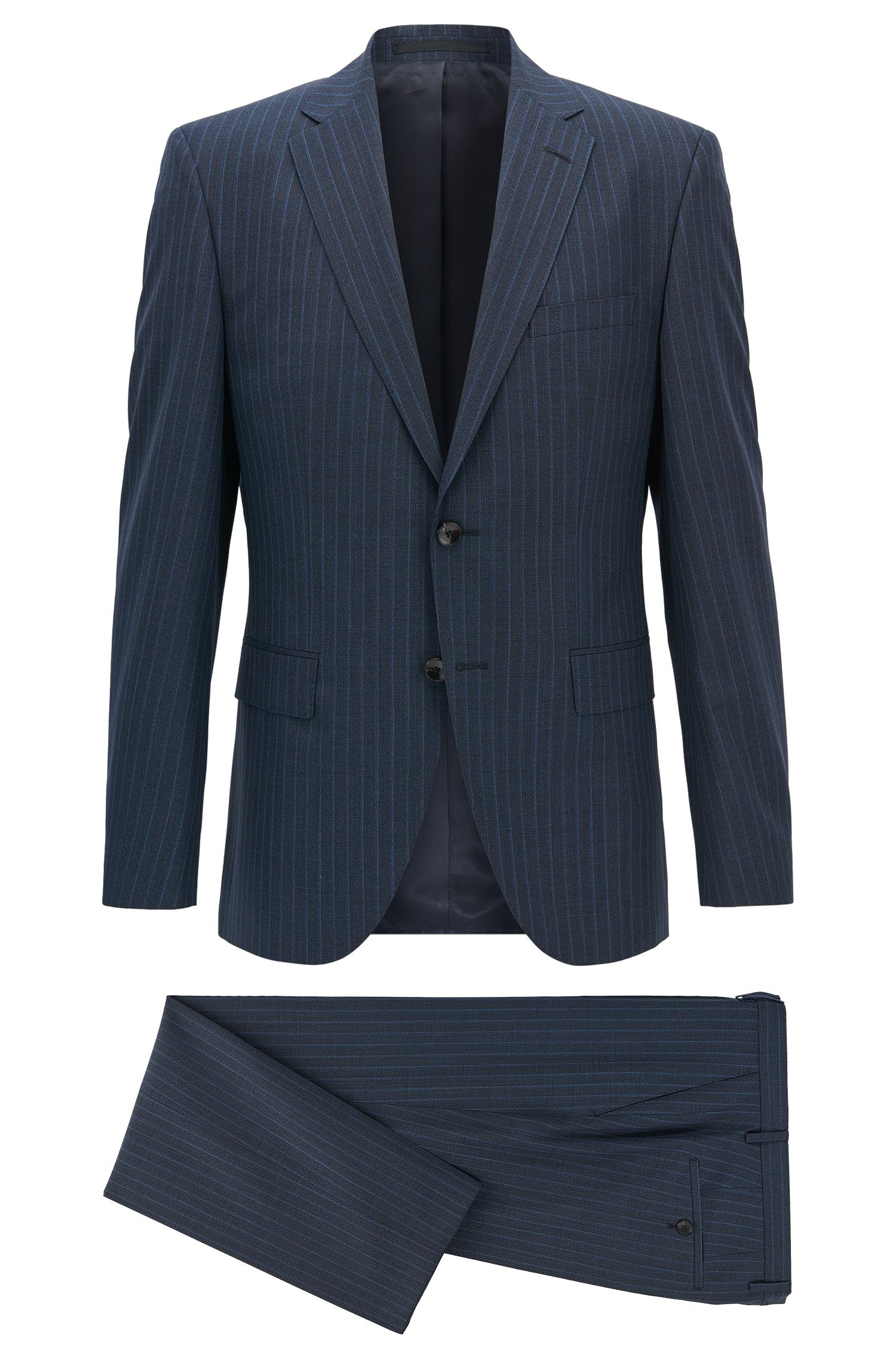 Pinstriped Virgin Wool Suit, Regular Fit | Johnstons/Lenon