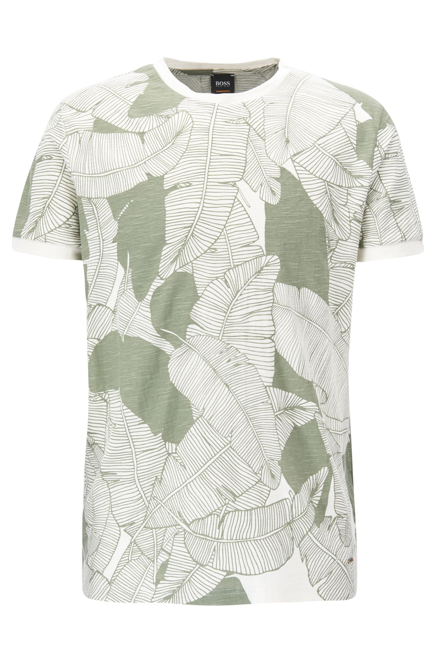 Leaf-Print Slub Jersey T-Shirt | Tarit, Natural