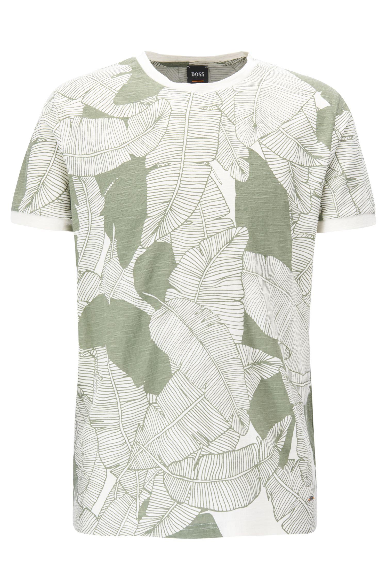 Leaf-Print Slub Jersey T-Shirt   Tarit
