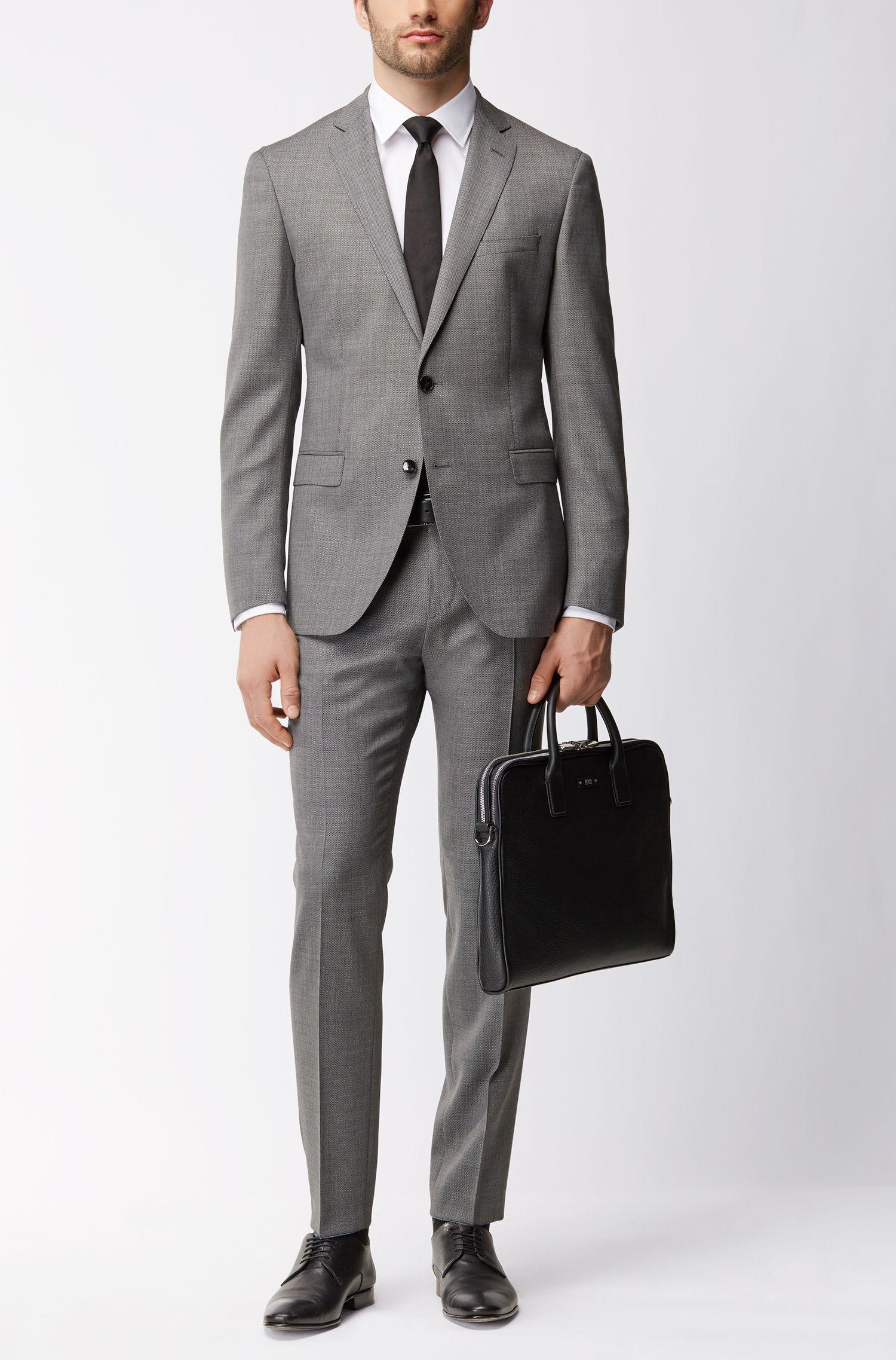 Sharkskin Virgin Wool Suit, Extra Slim Fit | Reyno/Wave, Open Grey
