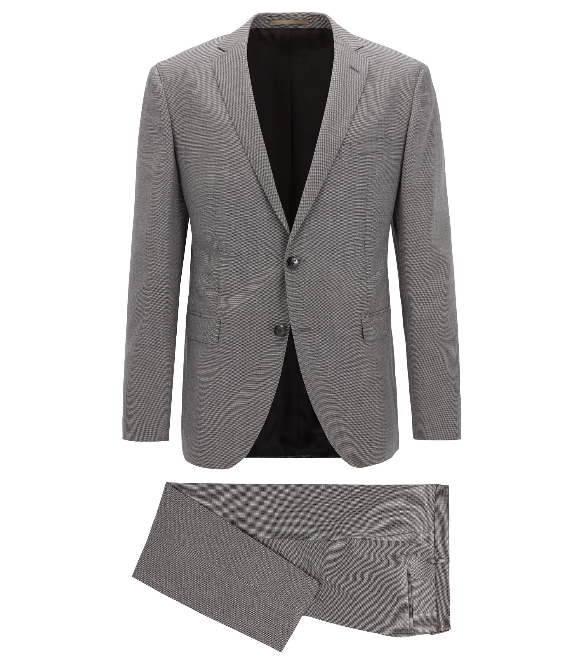 Sharkskin Virgin Wool Suit, Extra Slim Fit | Reyno/Wave, Open Grey