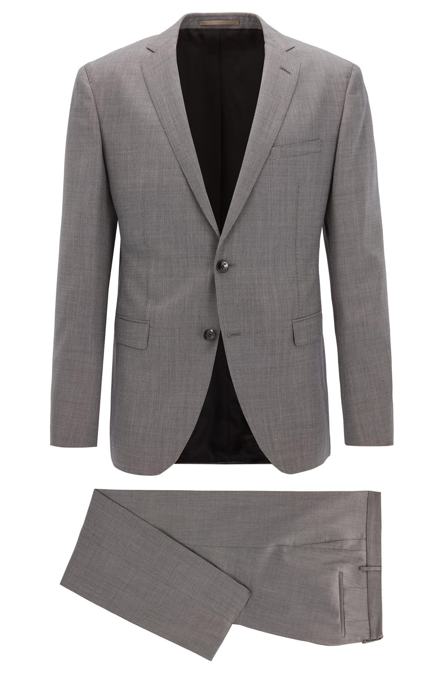 Sharkskin Virgin Wool Suit, Extra Slim Fit | Reyno/Wave