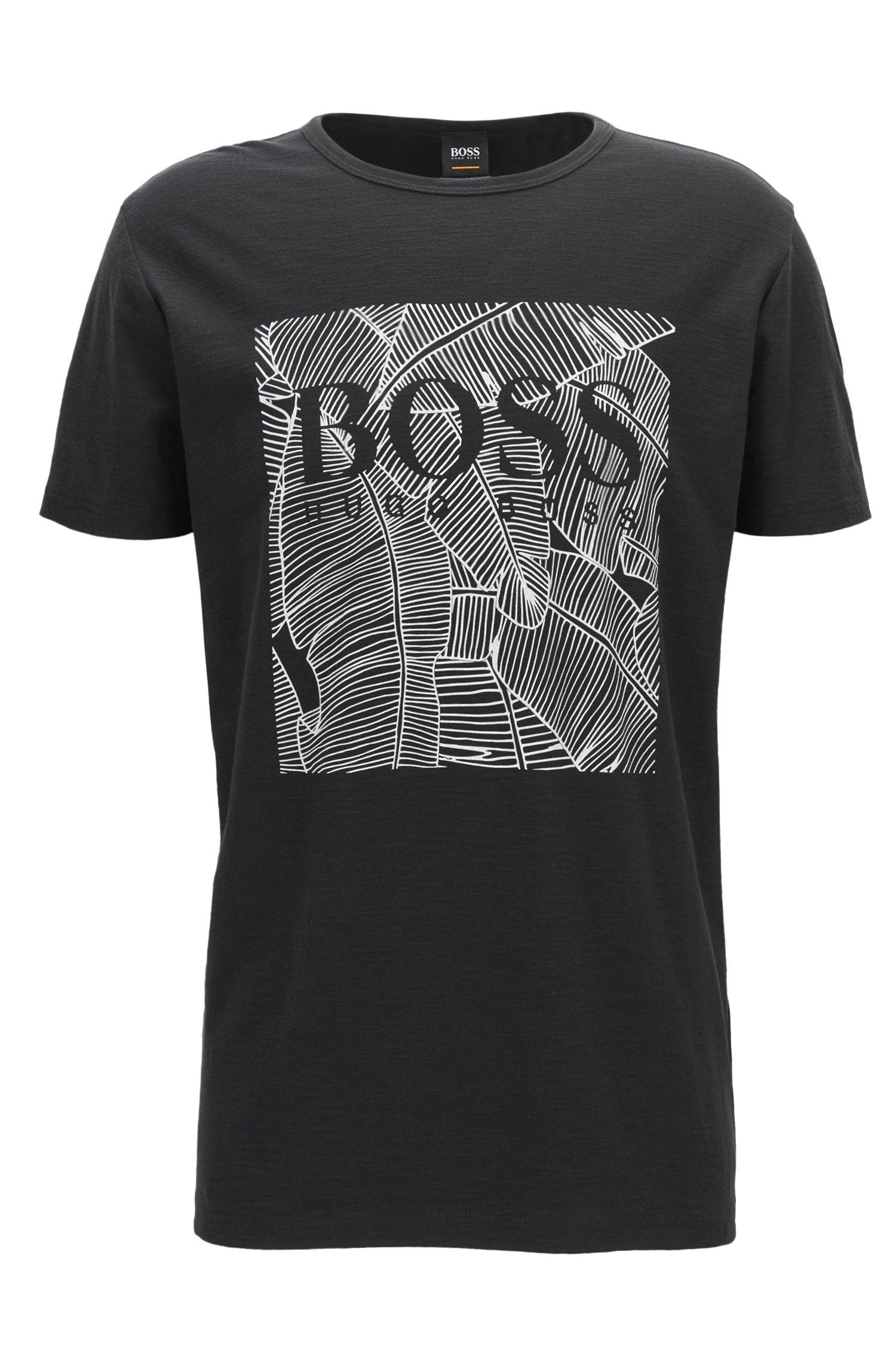 Leaf-Print Cotton Graphic T-Shirt | Tarit